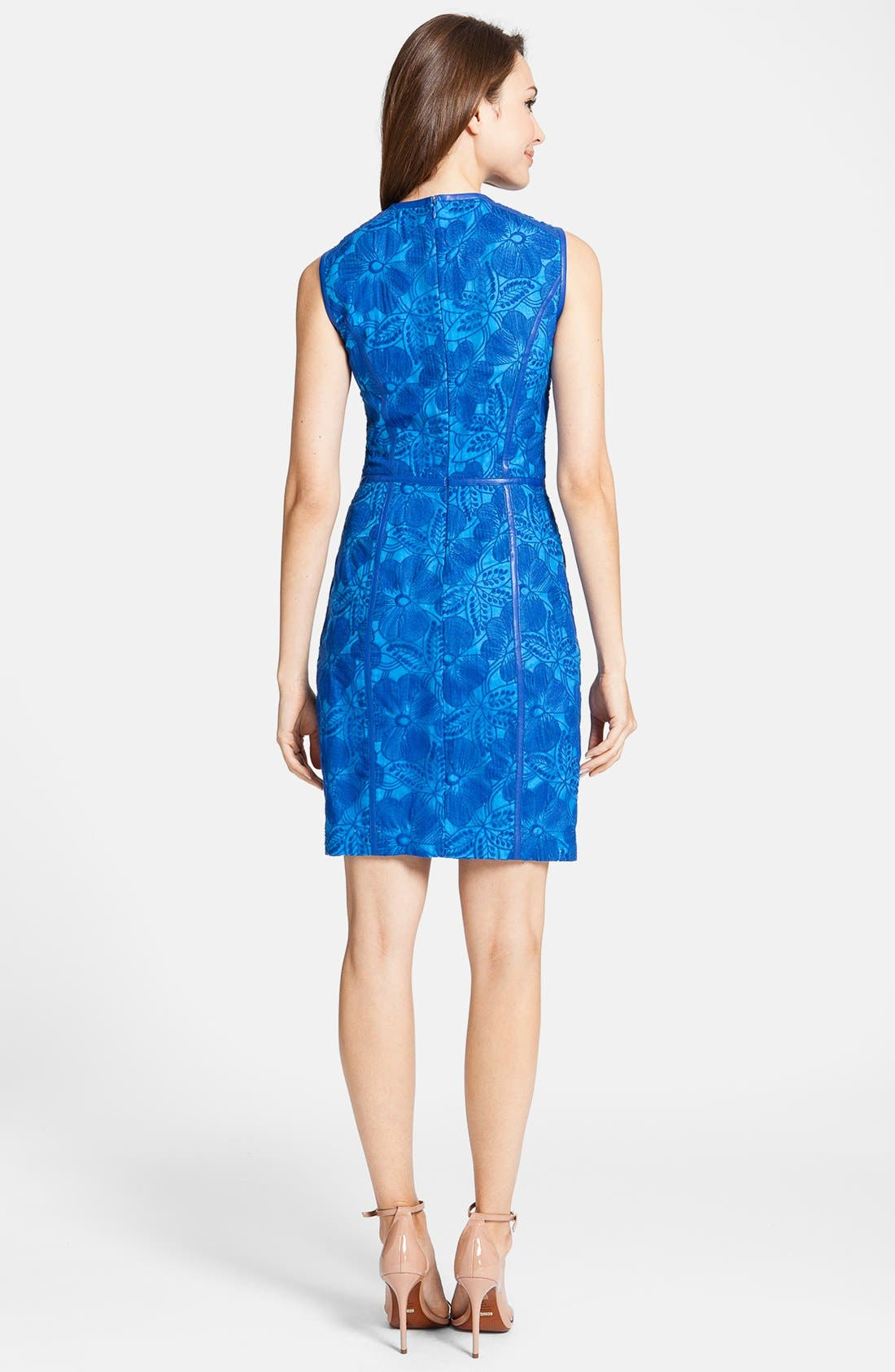 'Eleonora' Faux Leather Trim Organza Sheath Dress,                             Alternate thumbnail 2, color,                             426
