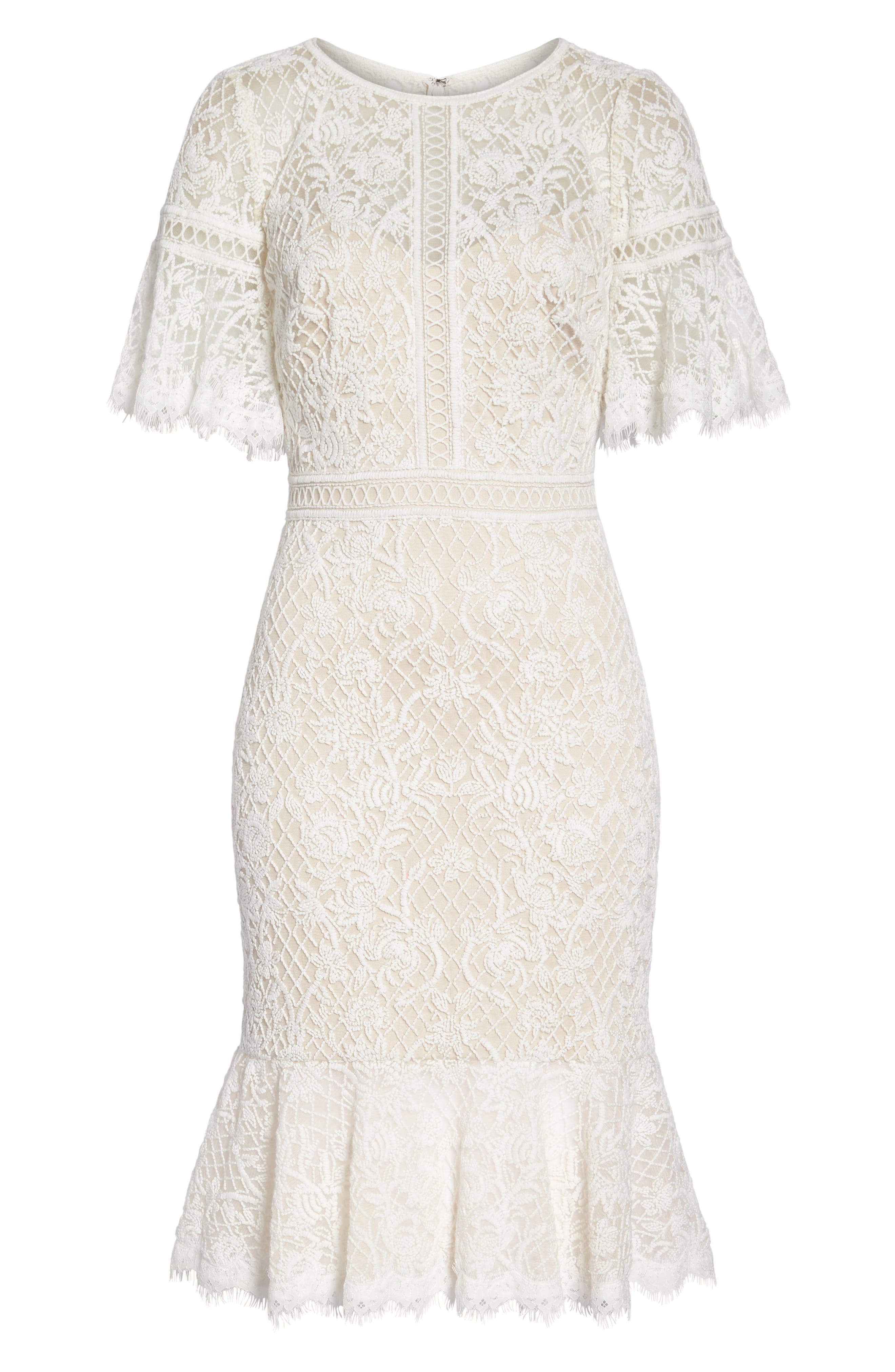 Embroidered Mesh Dress,                             Alternate thumbnail 7, color,                             IVORY/ NATURAL