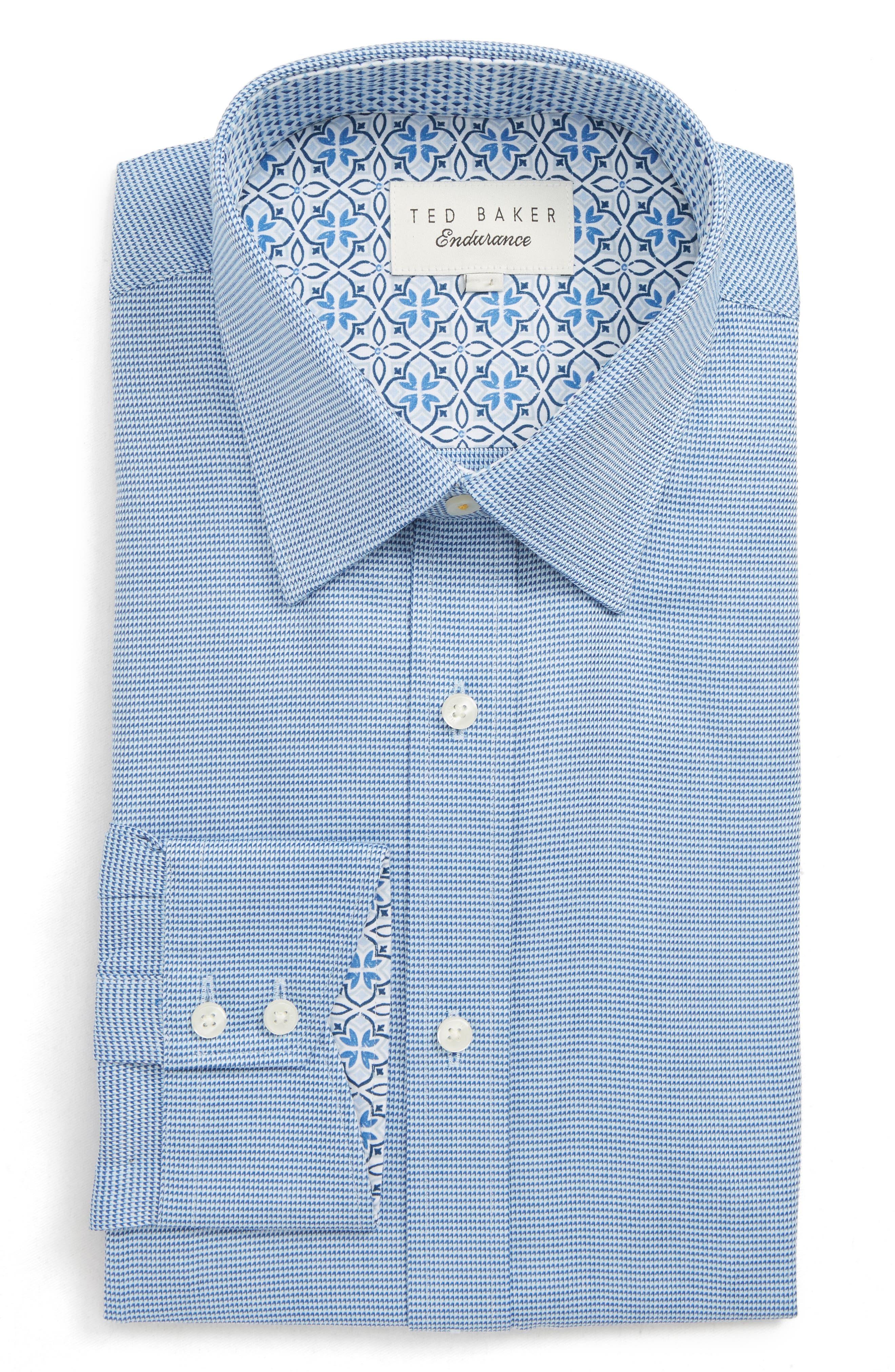 Shell Trim Fit Print Dress Shirt,                         Main,                         color, BLUE