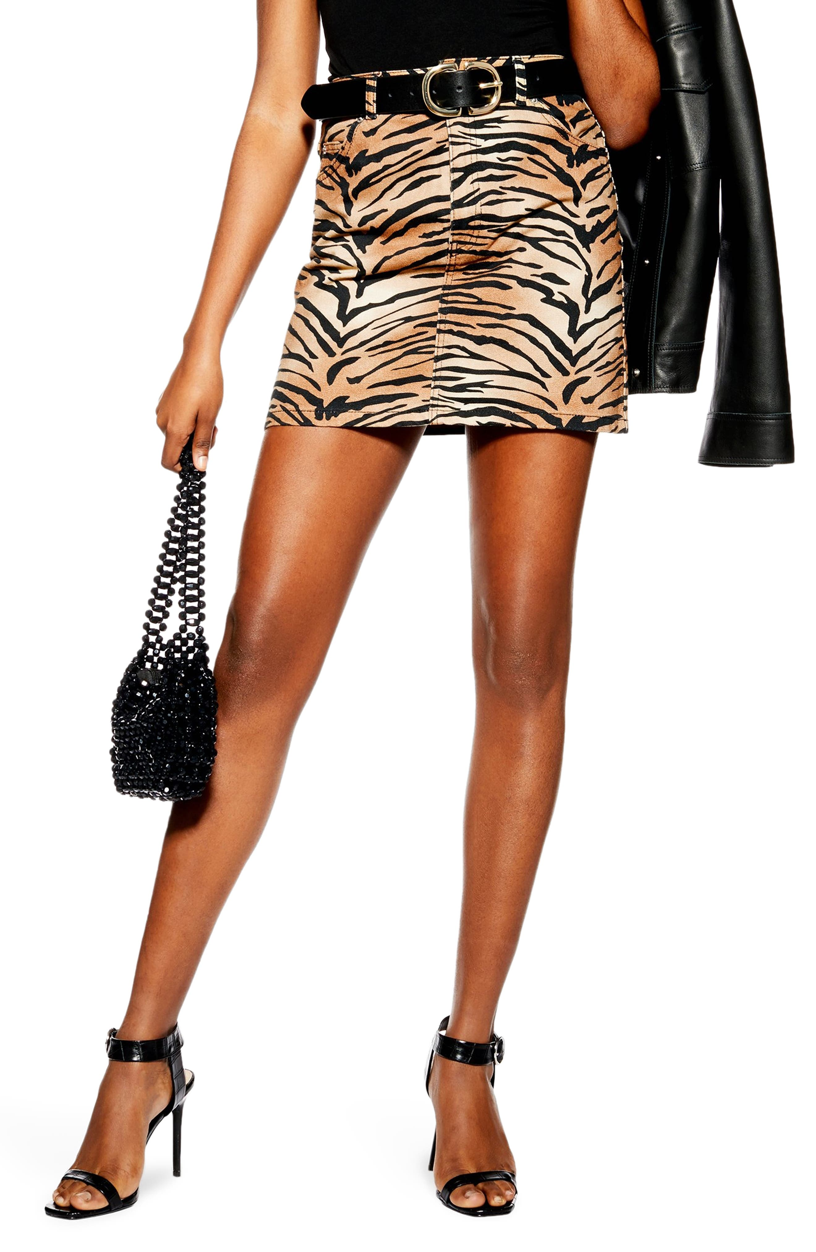 Topshop Tiger Print Denim Miniskirt, US (fits like 2-4) - Brown
