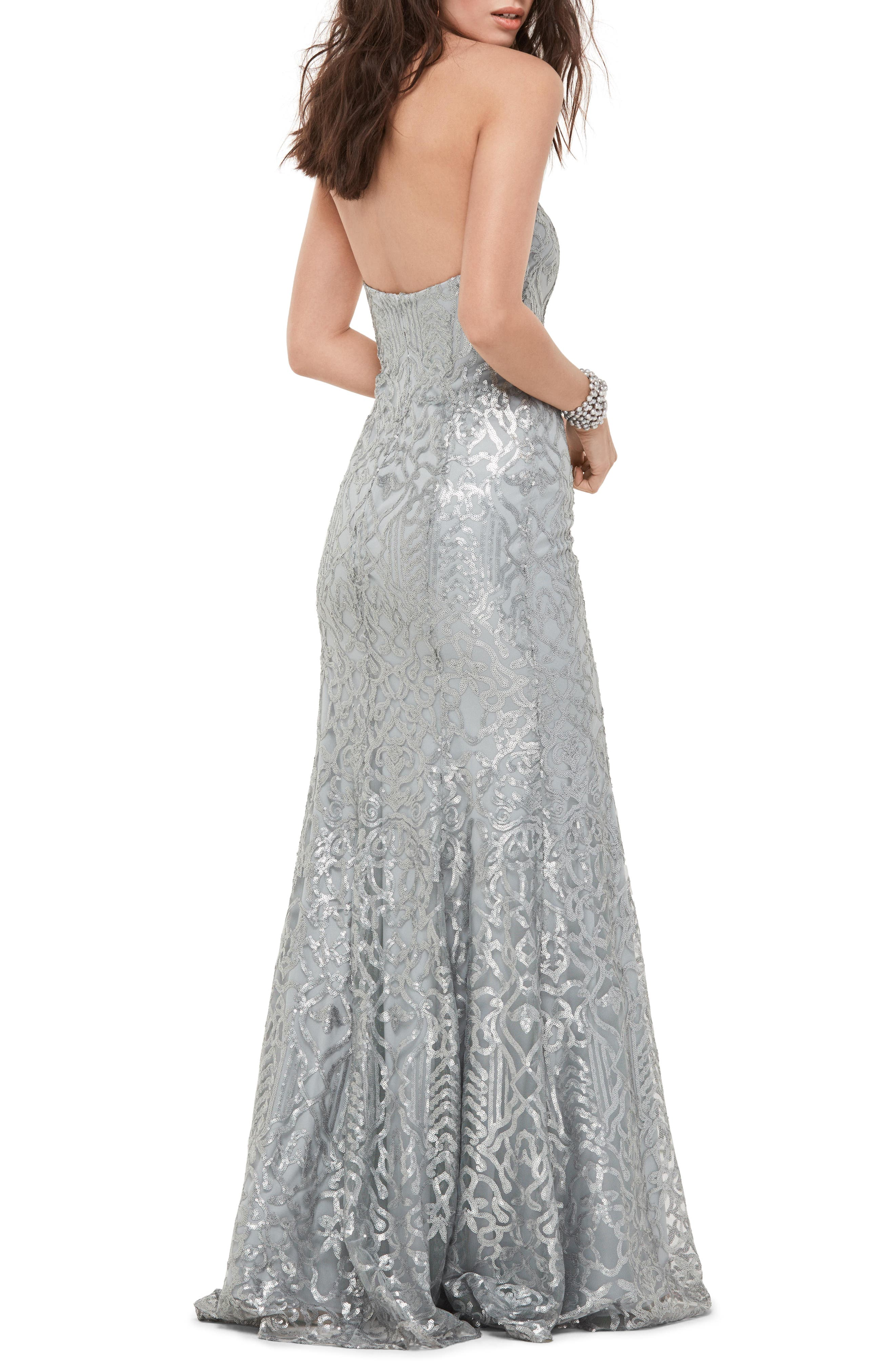Talisa Sequin Mesh Strapless Gown,                             Alternate thumbnail 2, color,                             030