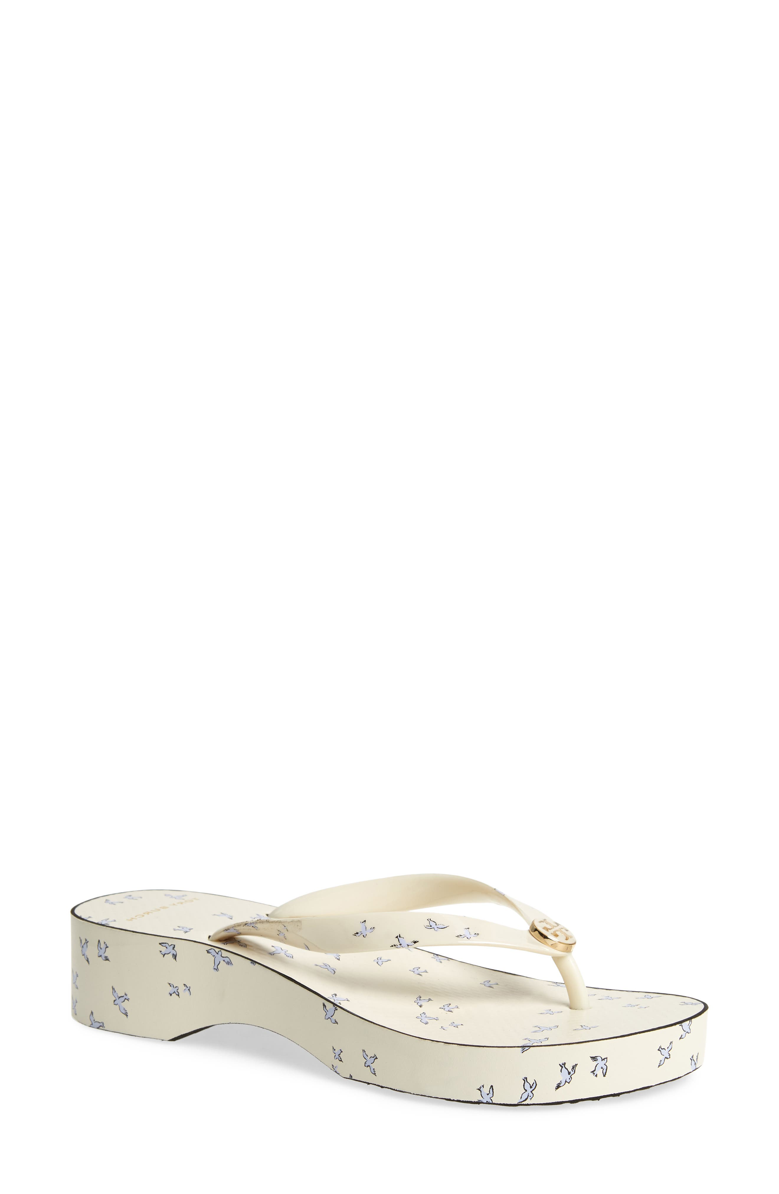 Wedge Flip Flop,                         Main,                         color, IVORY EARLY BIRD