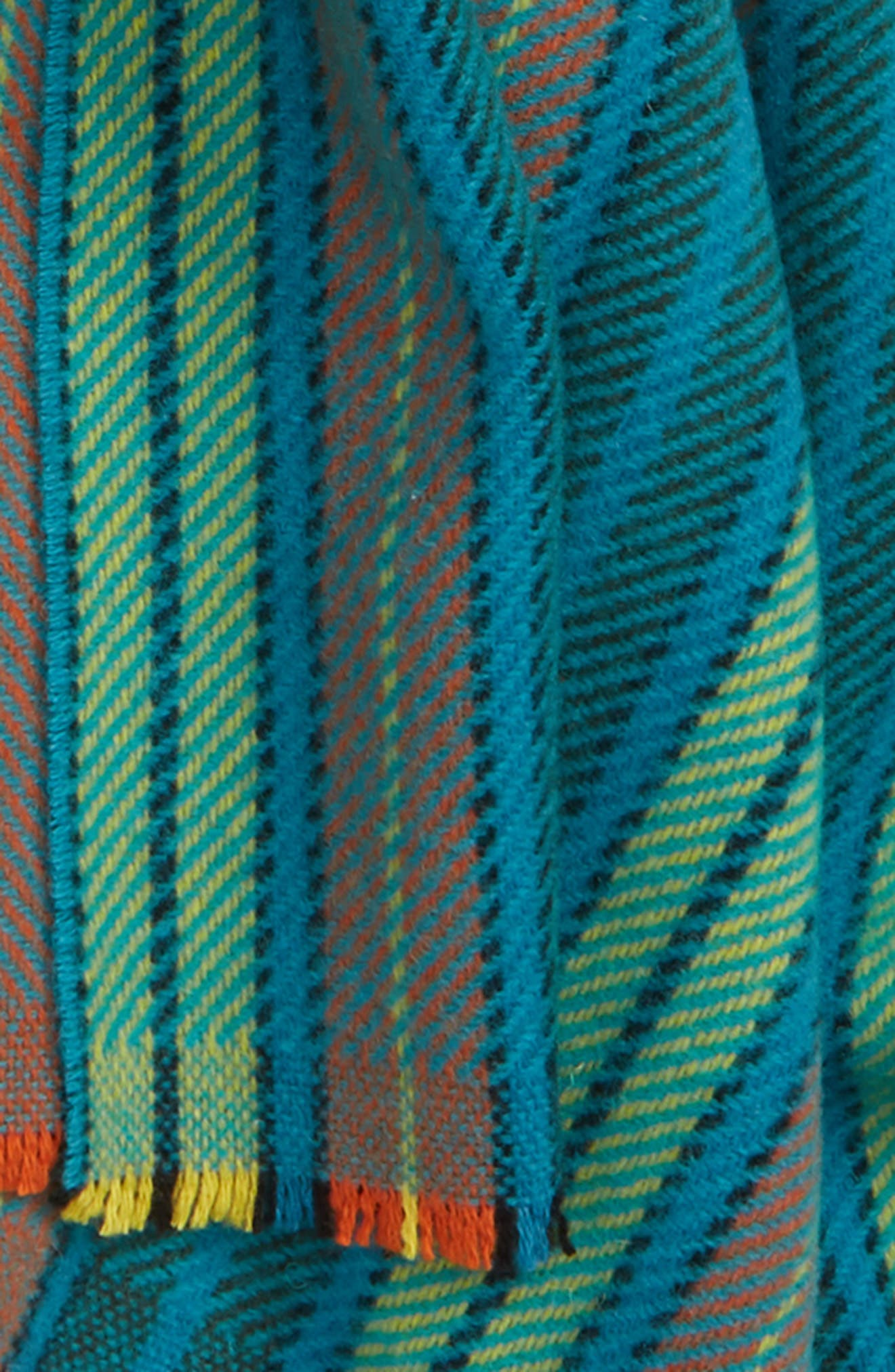 Check Wool Scarf,                             Alternate thumbnail 4, color,                             MID BLUE/YELLOW CHECK