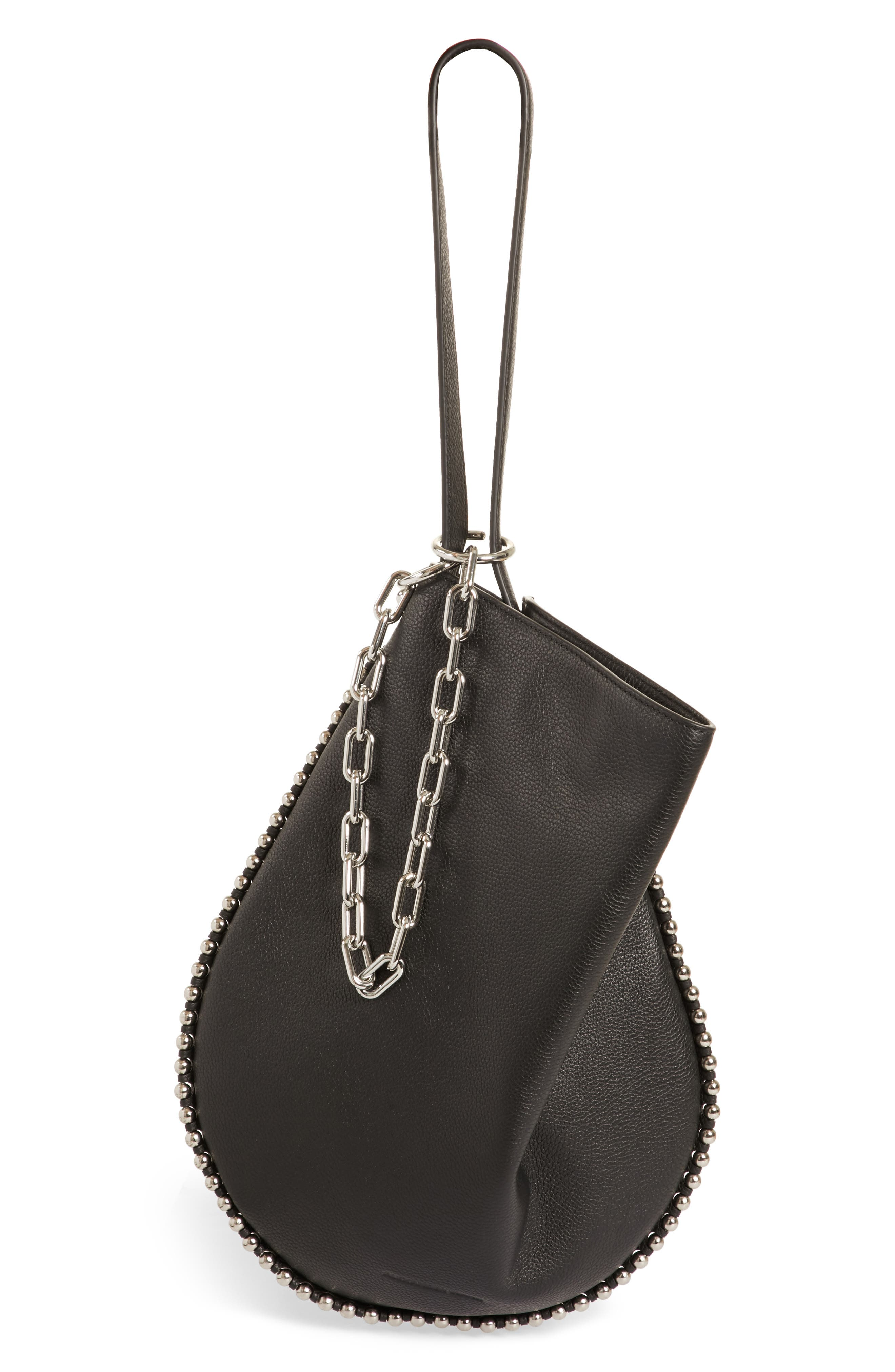 Roxy Leather Hobo,                             Alternate thumbnail 7, color,                             BLACK