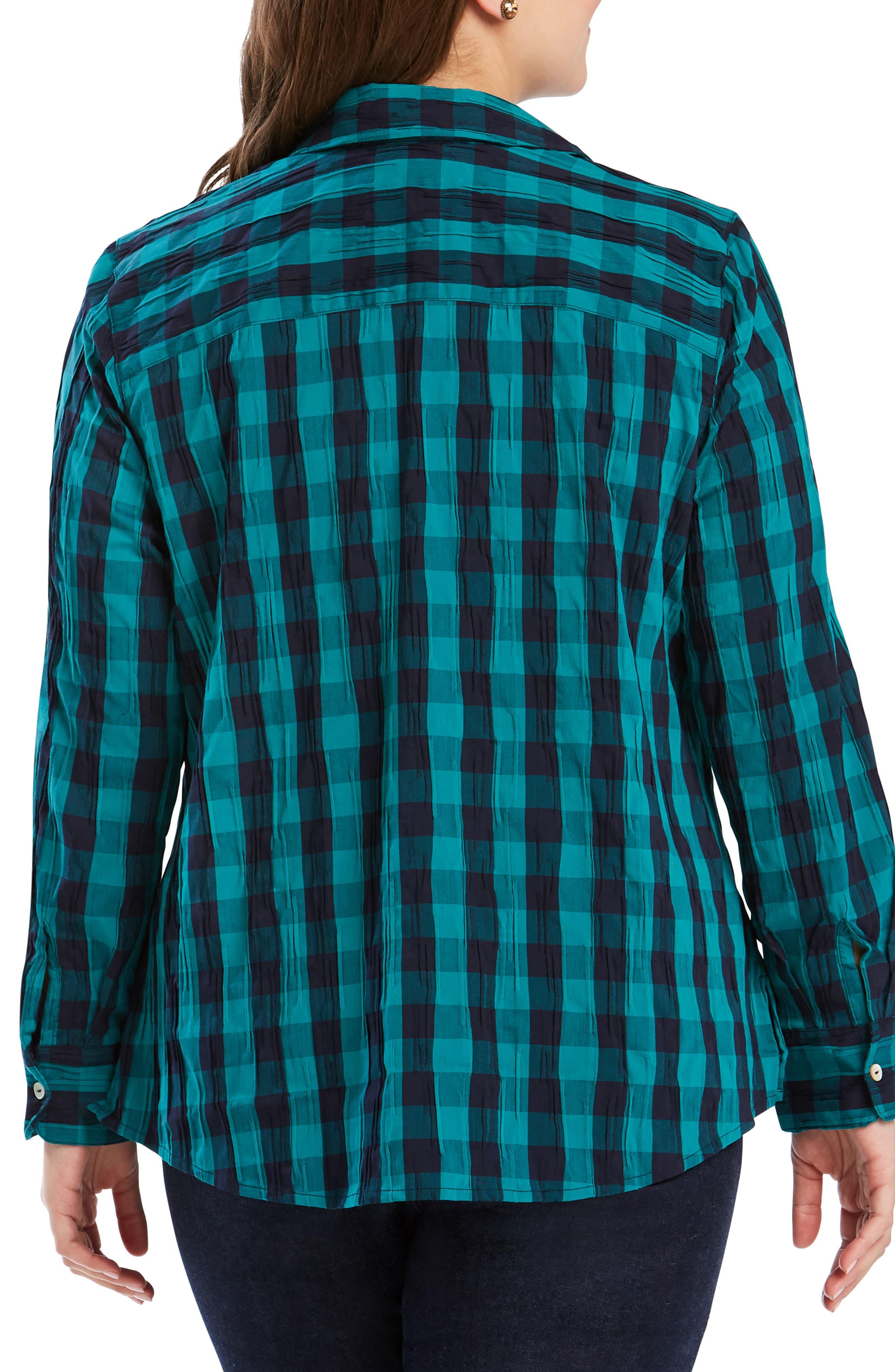 Mary Buffalo Check Crinkle Shirt,                             Alternate thumbnail 2, color,                             EMERALD CUT