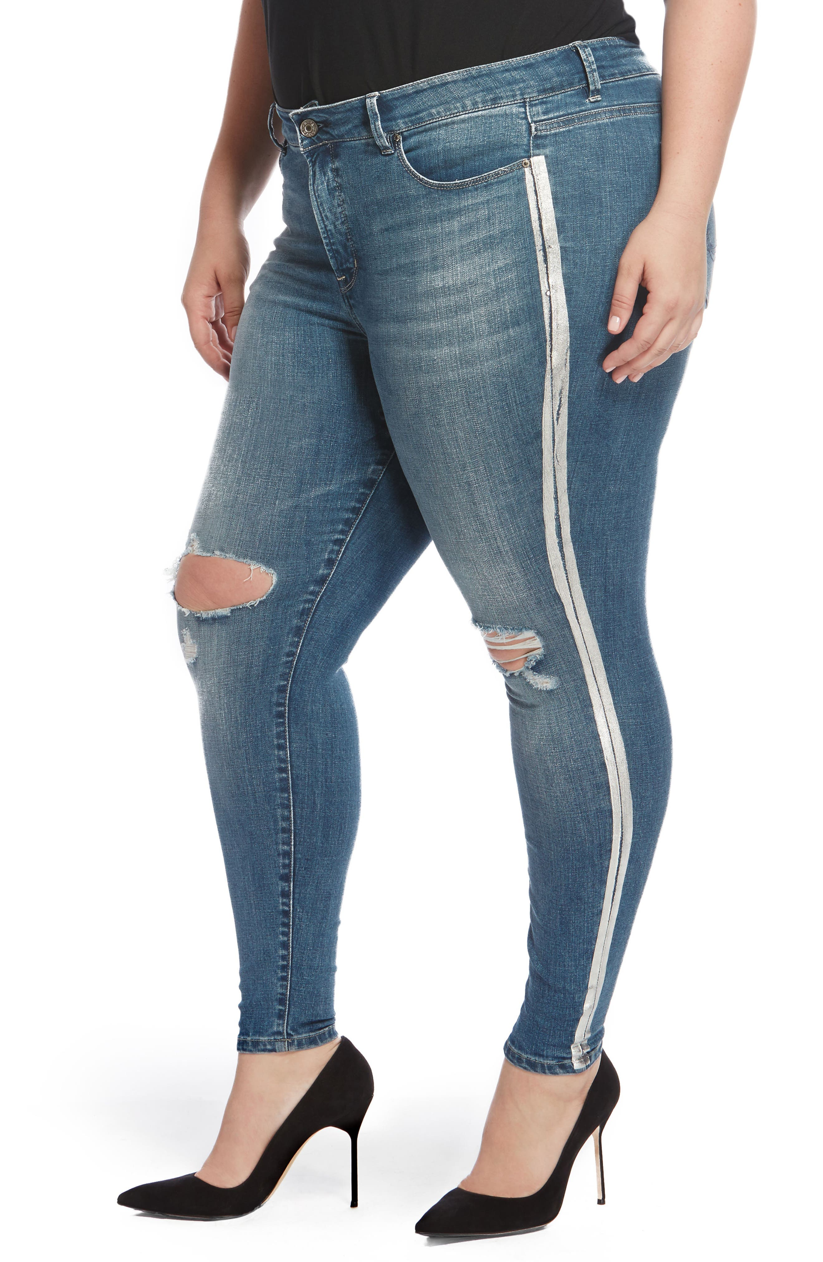 The Pin Up Ripped Ankle Jeans,                             Alternate thumbnail 6, color,
