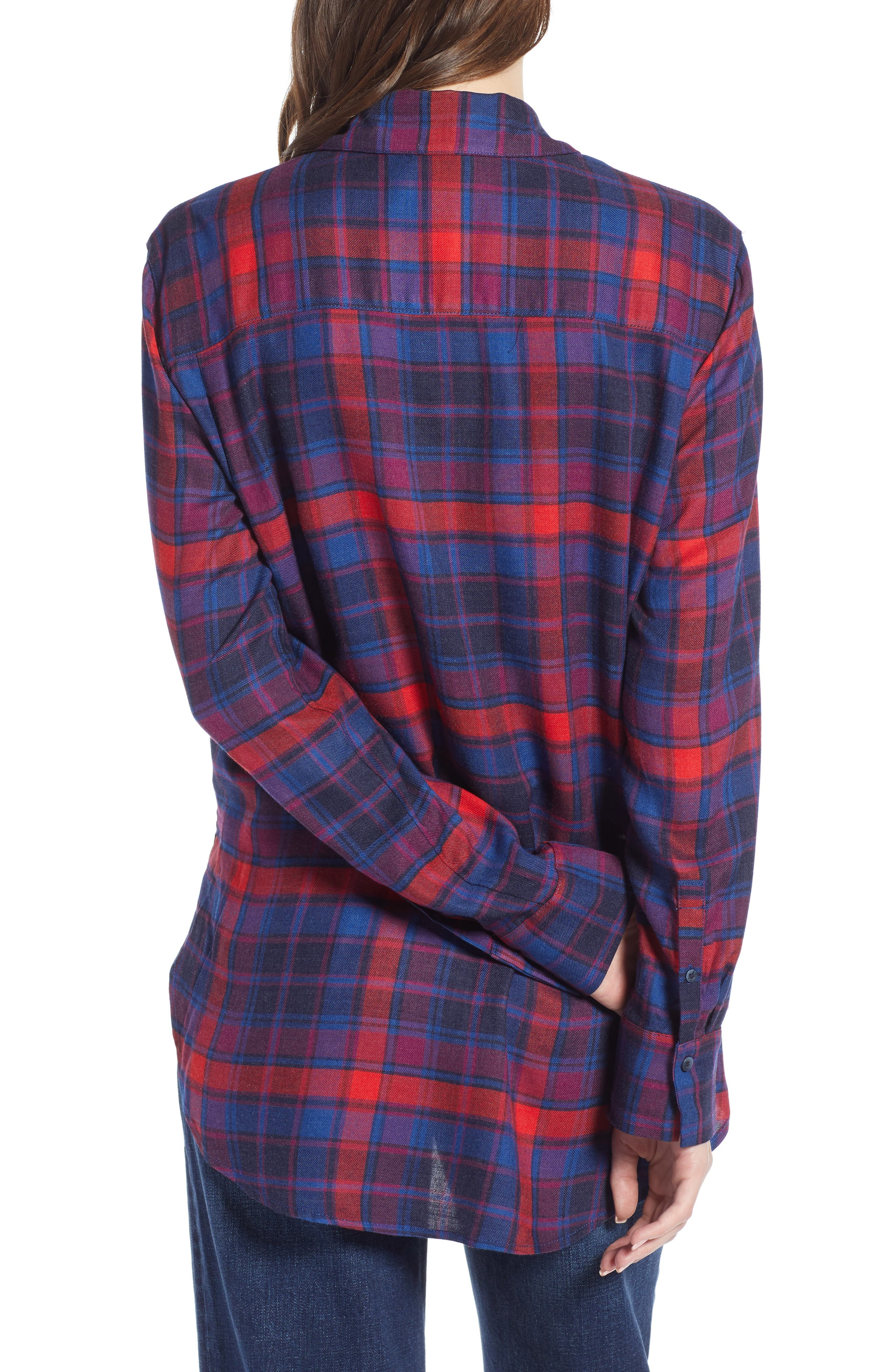 Plaid Boyfriend Shirt,                             Alternate thumbnail 2, color,                             BLUE SODALIGHT BEAMING PLAID