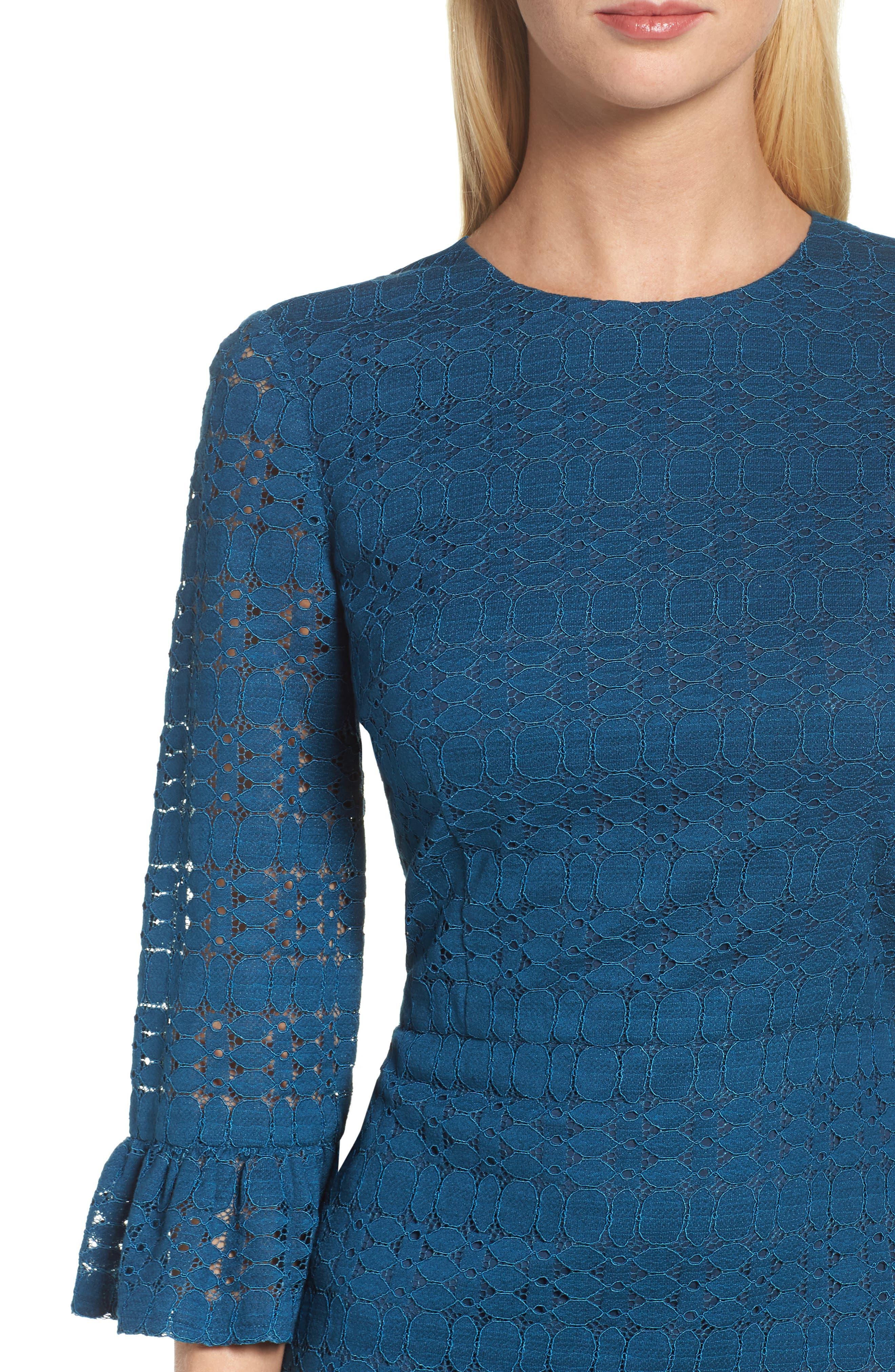 Ruffle Lace Sheath Dress,                             Alternate thumbnail 4, color,                             458