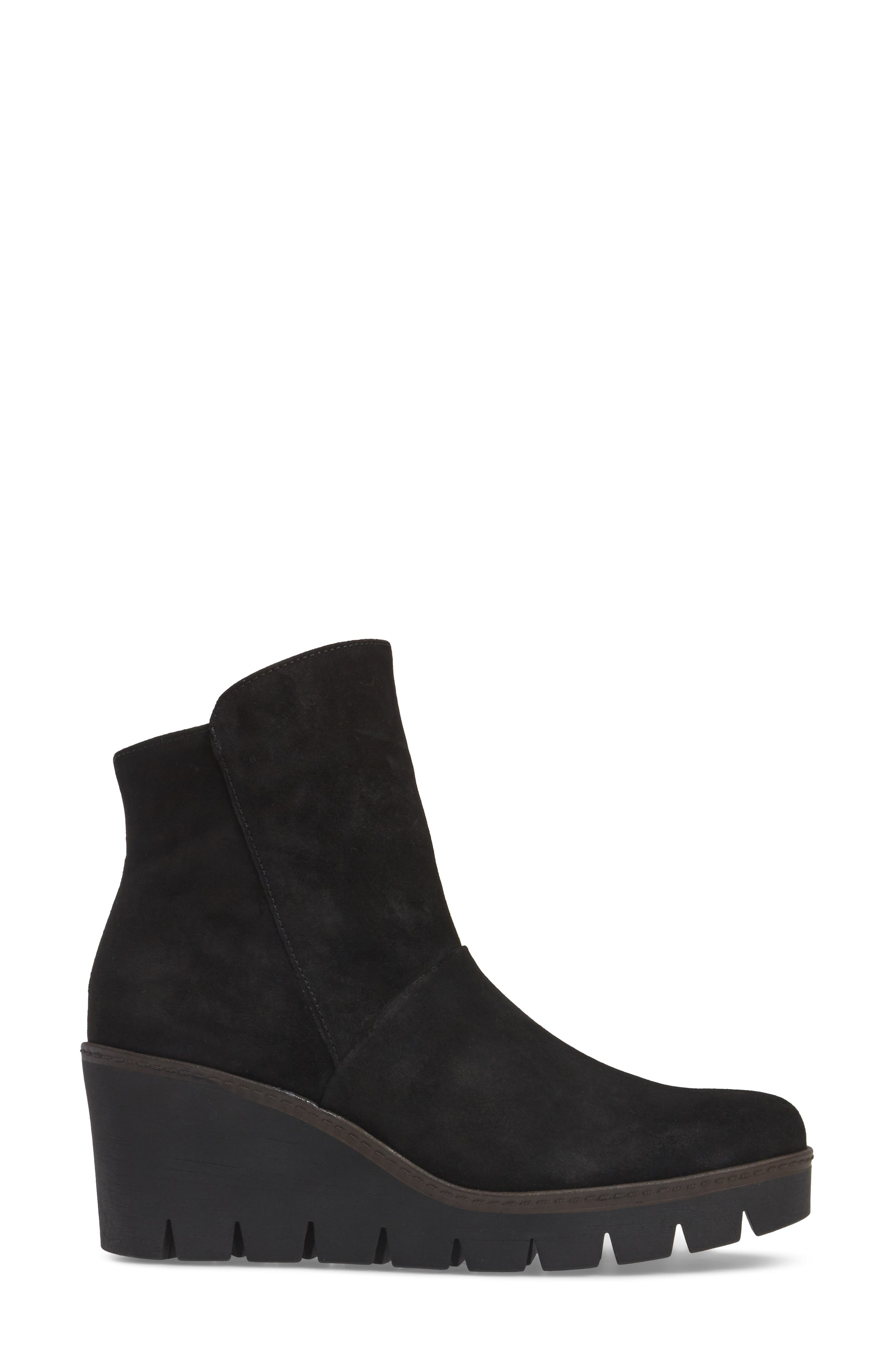 Wedge Bootie,                             Alternate thumbnail 3, color,                             BLACK SUEDE