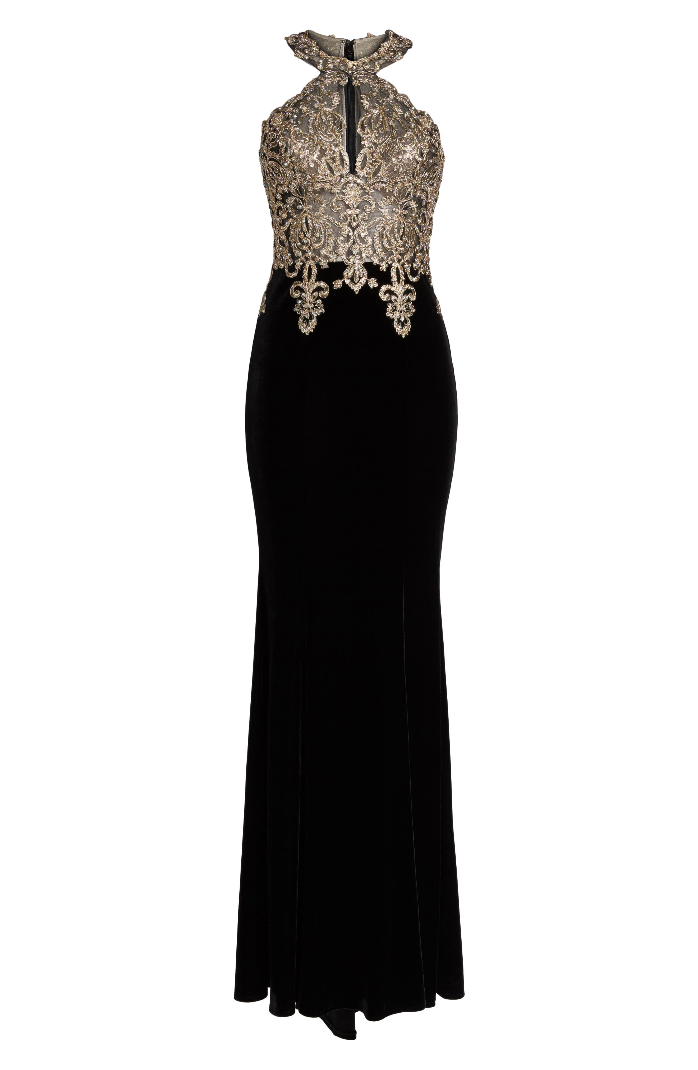 Crystal Embroidered Velvet Gown,                             Alternate thumbnail 6, color,