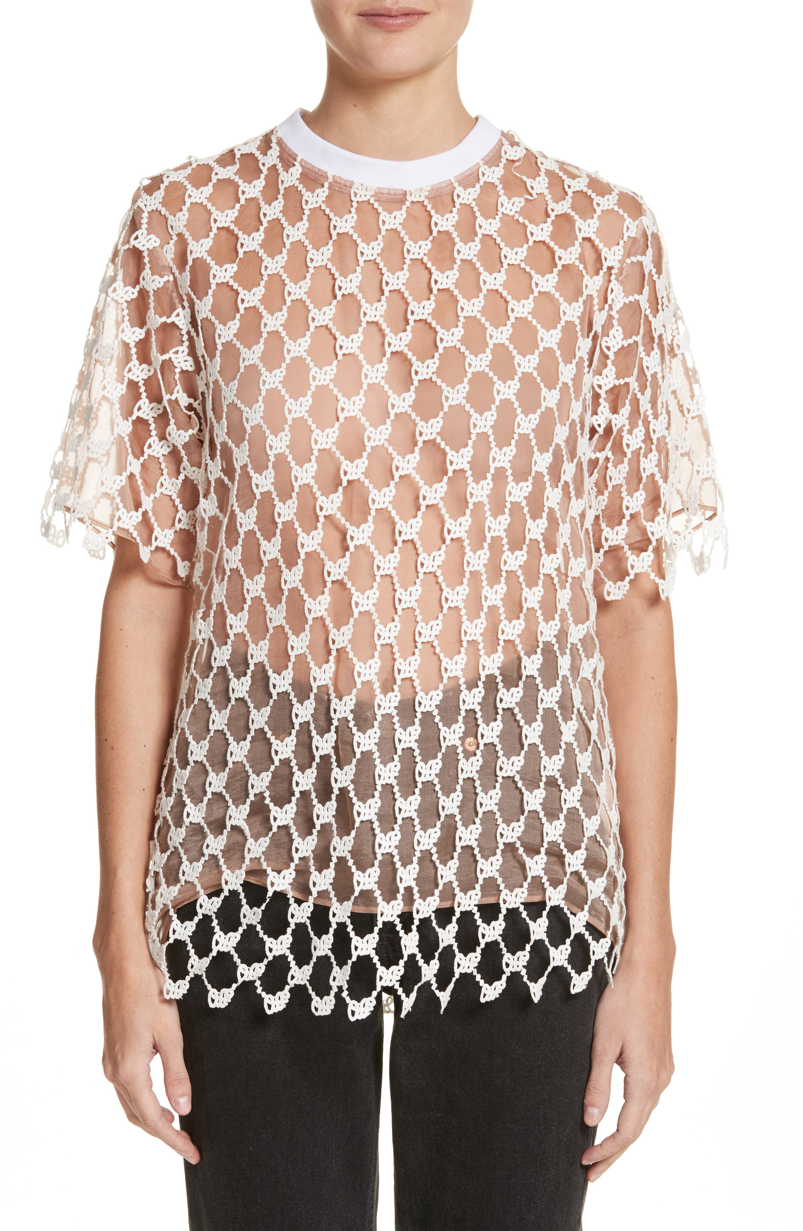 New Over Mesh Tee,                         Main,                         color, 100