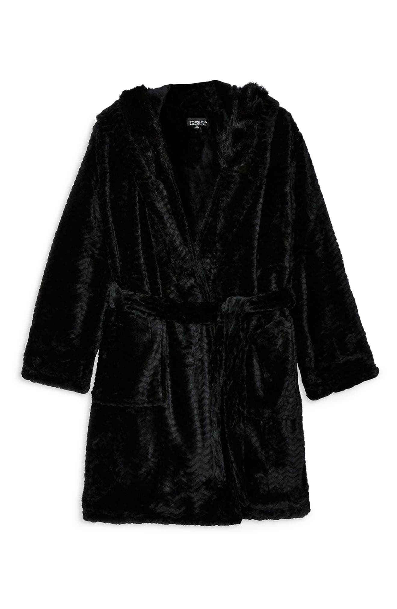 Kimmie Hooded Short Robe,                             Alternate thumbnail 3, color,                             BLACK