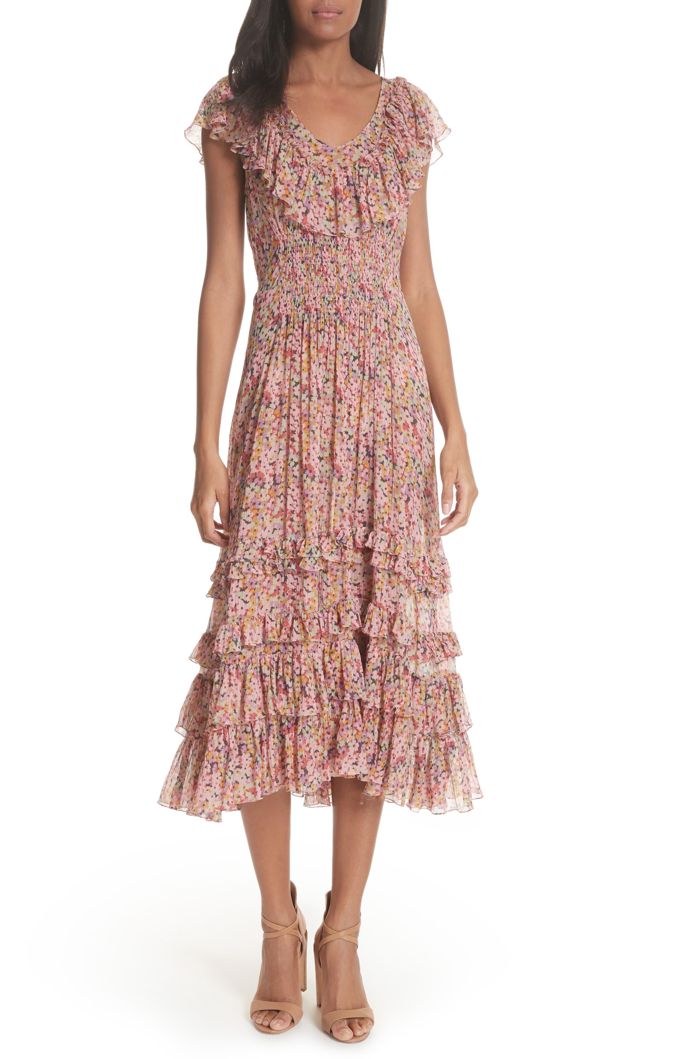 Margo Floral Ruffled Midi Dress,                             Main thumbnail 1, color,                             686