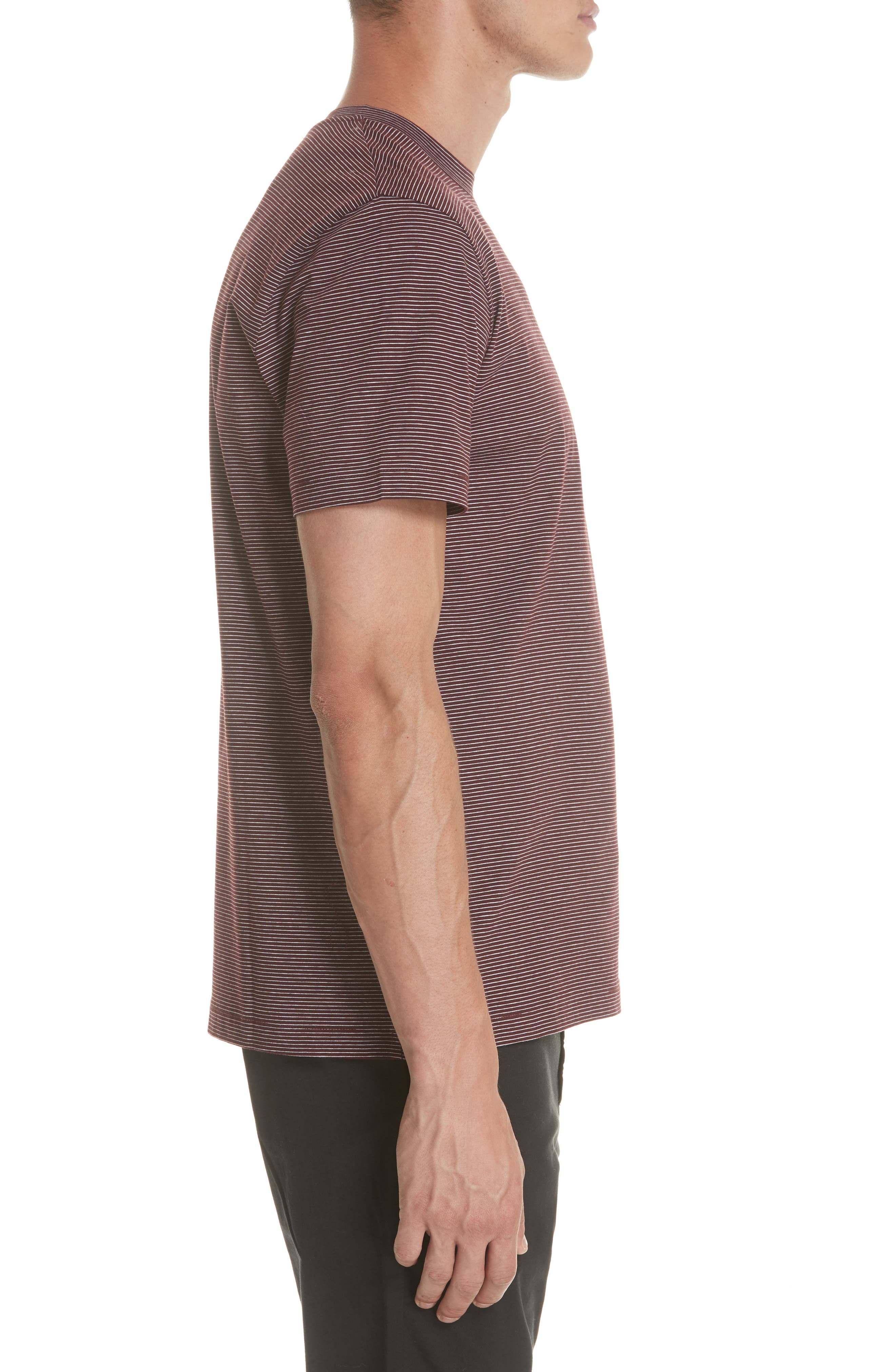 Stripe Pocket T-Shirt,                             Alternate thumbnail 3, color,                             BURGUNDY