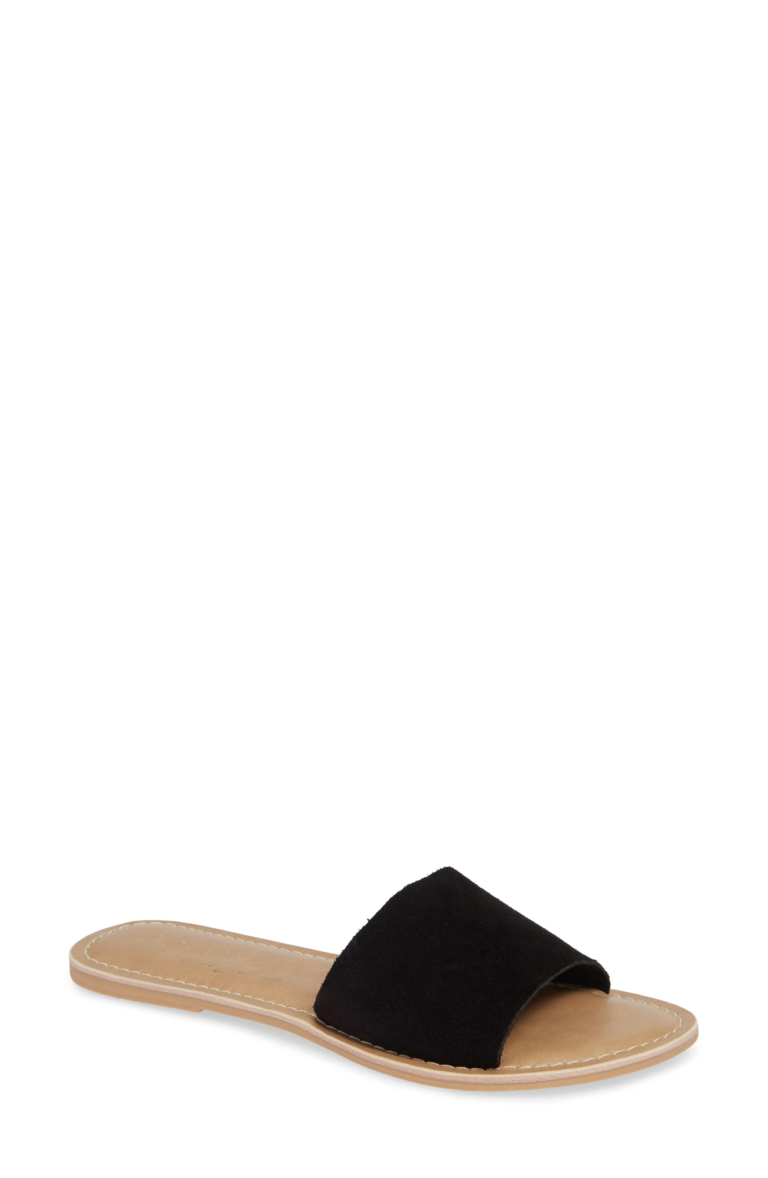 Cabana Slide Sandal,                         Main,                         color, BLACK SUEDE