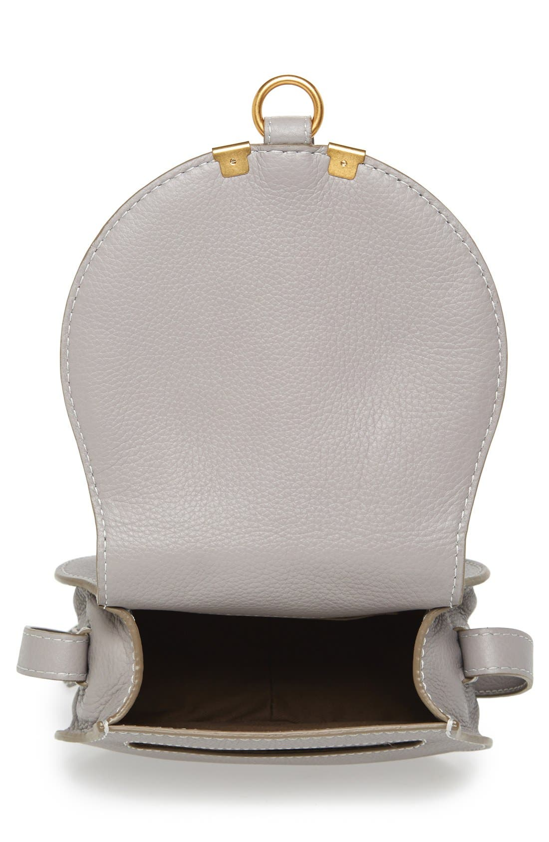'Mini Marcie' Leather Crossbody Bag,                             Alternate thumbnail 4, color,                             CASHMERE GREY