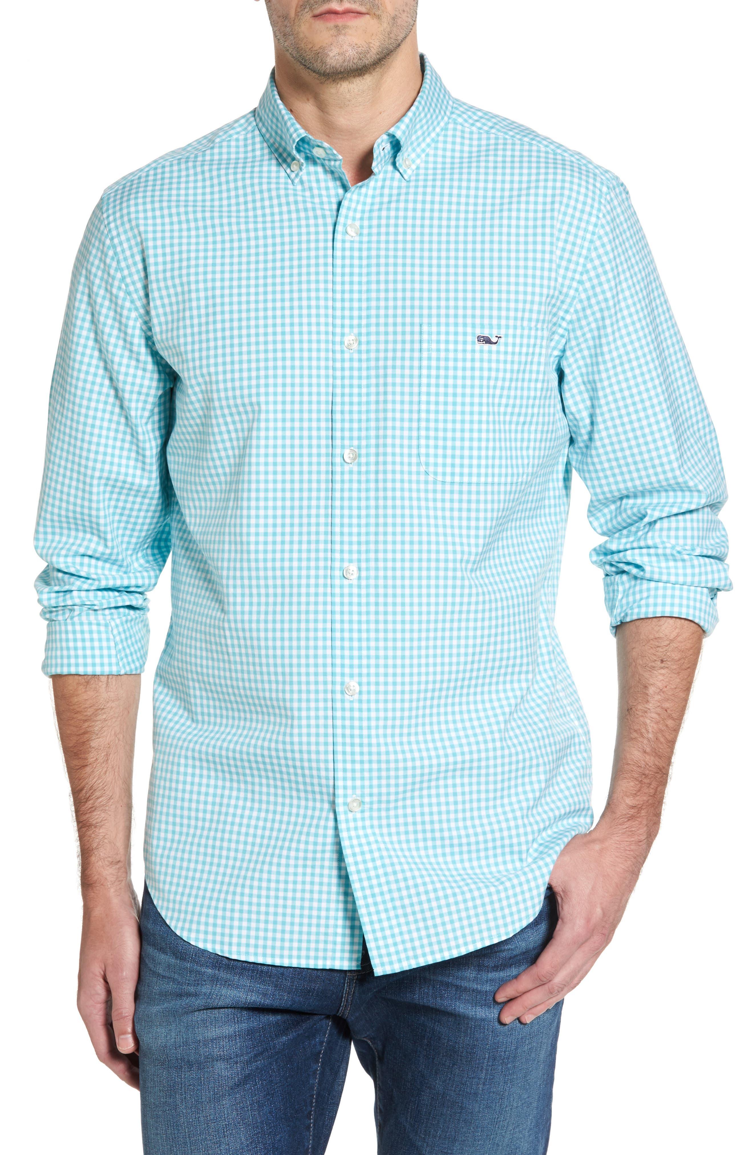 VINEYARD VINES,                             Seafloor Tucker Gingham Sport Shirt,                             Main thumbnail 1, color,                             302