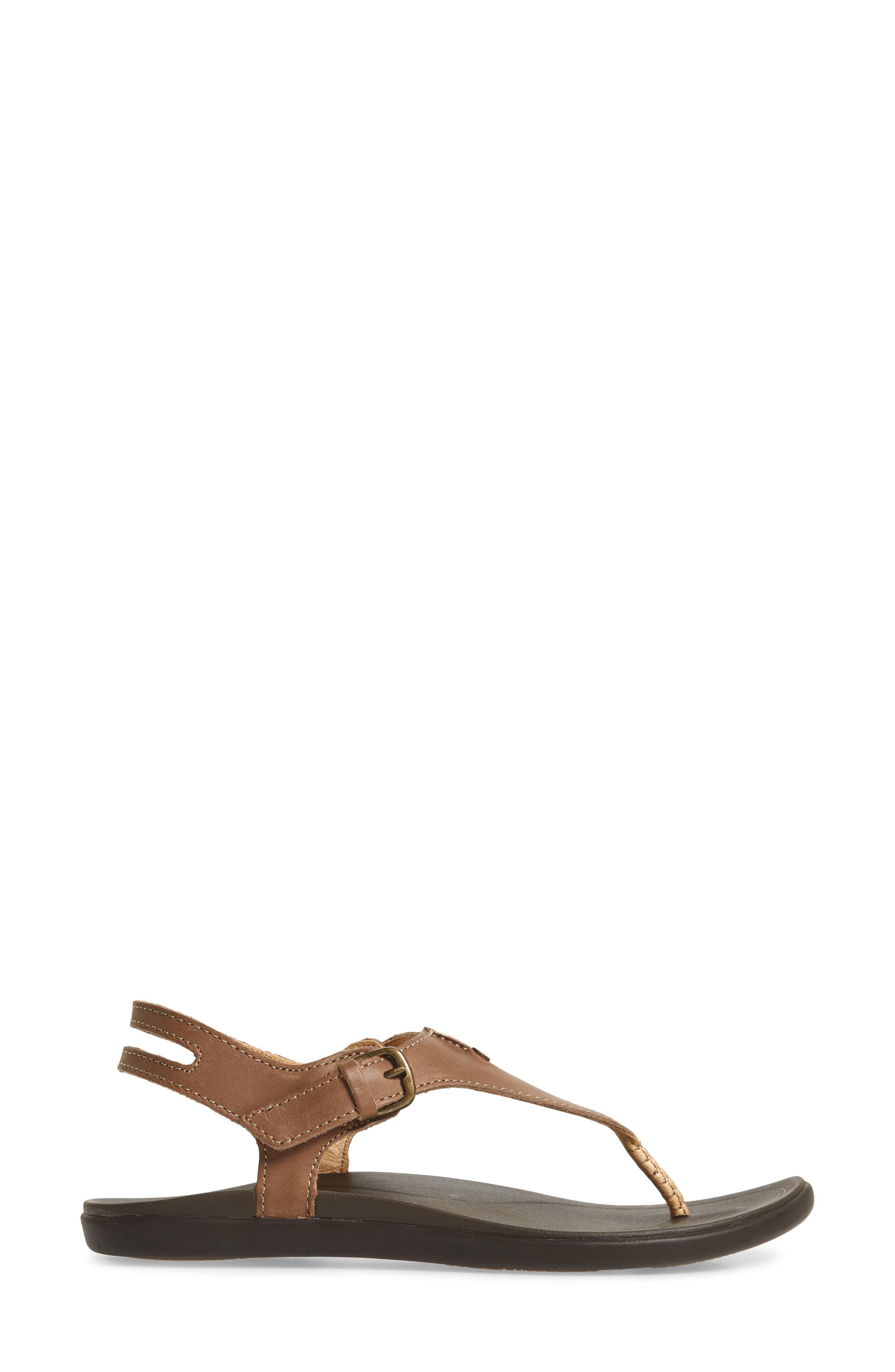 'Eheu V-Strap Sandal,                             Alternate thumbnail 3, color,                             CLAY/ DARK JAVA LEATHER