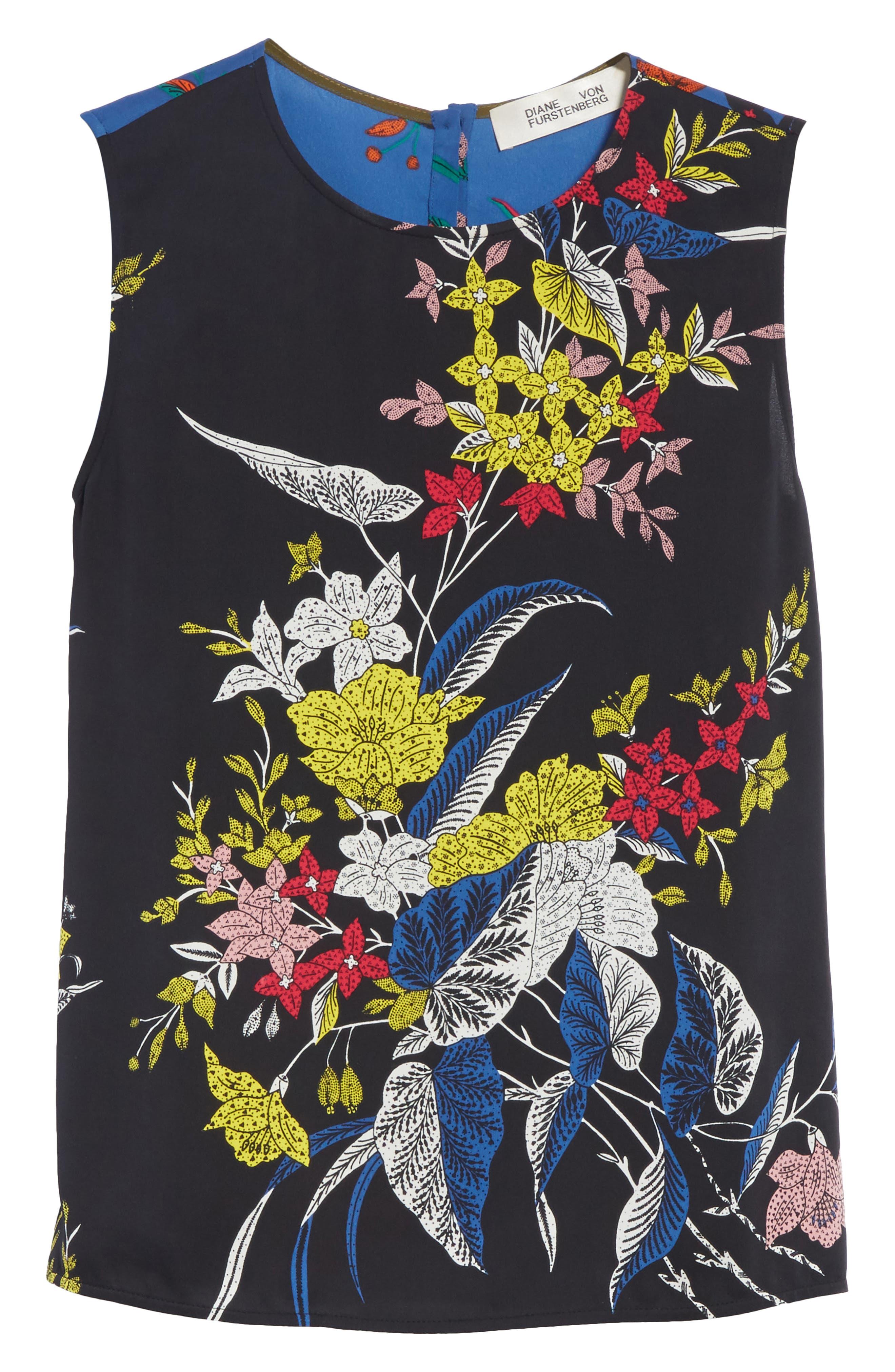 Diane von Furstenberg Floral Print Silk Shell,                             Alternate thumbnail 6, color,                             002
