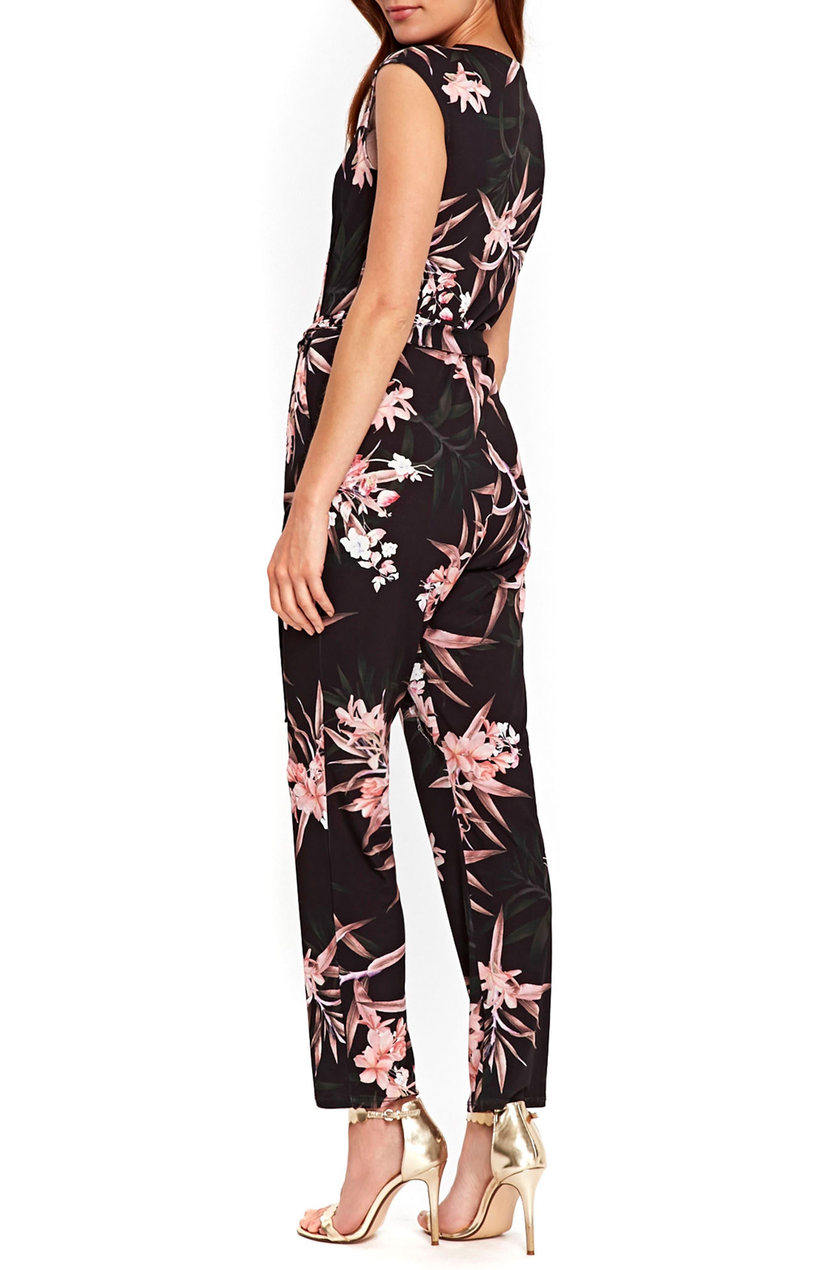 Fern Floral Jersey Jumpsuit,                             Alternate thumbnail 2, color,                             001