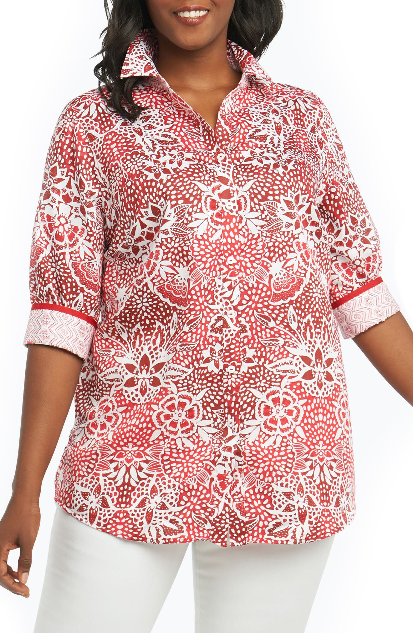 Faith Batik Floral Top,                             Main thumbnail 1, color,                             REGATTA RED