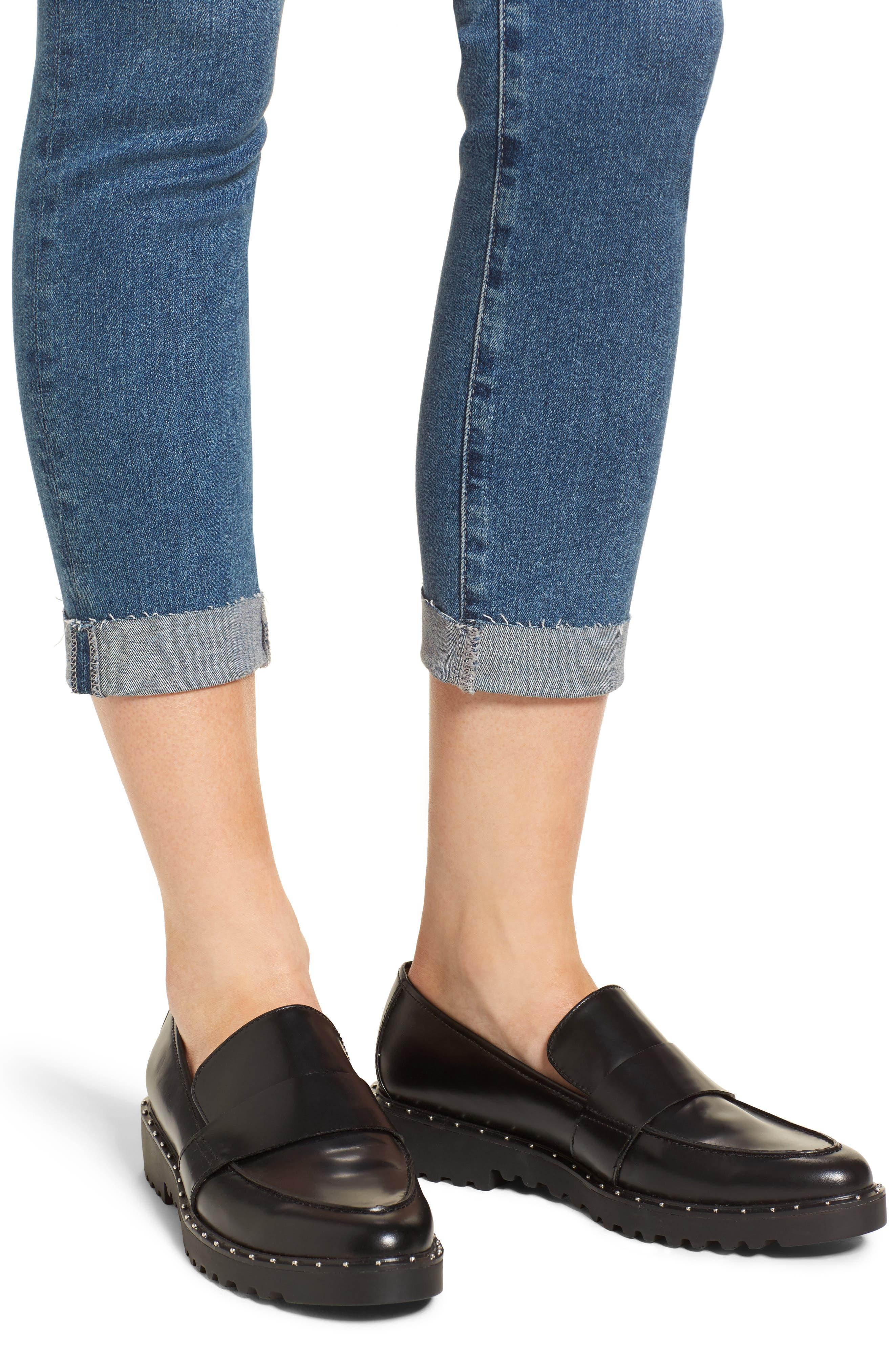 The Stilt Destructed Crop Skinny Jeans,                             Alternate thumbnail 4, color,