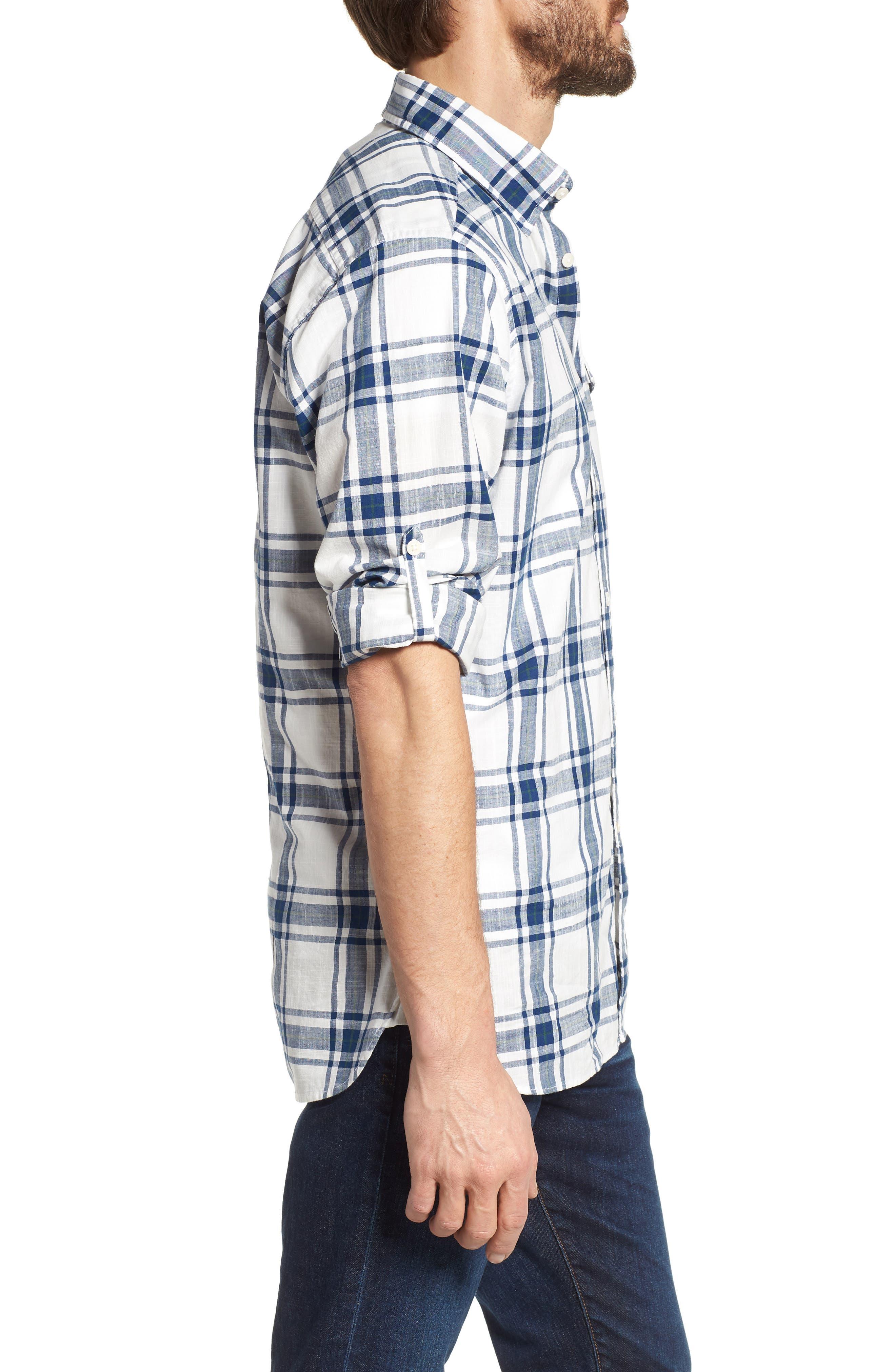 Elver Tailored Fit Plaid Sport Shirt,                             Alternate thumbnail 3, color,                             330