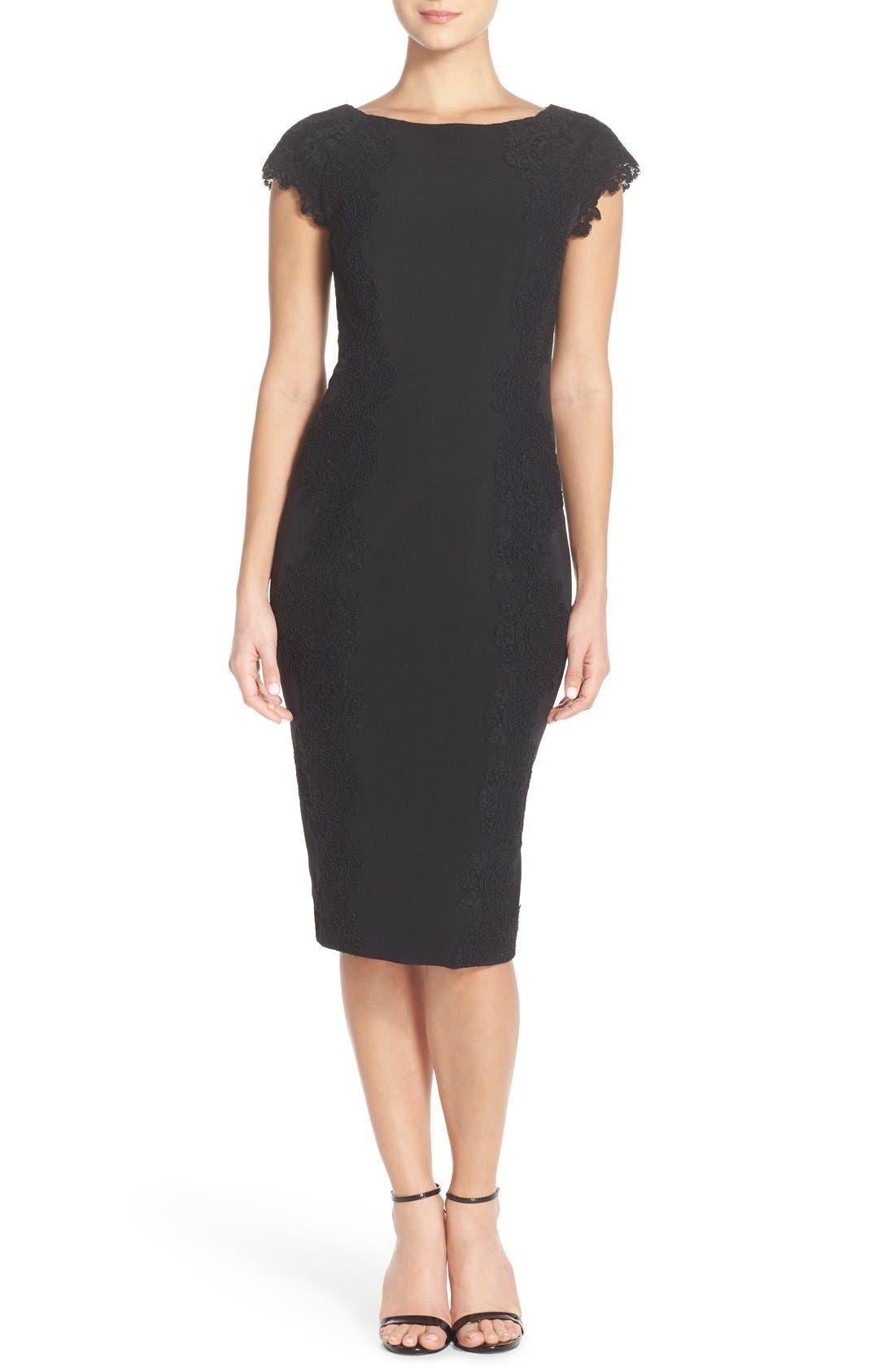 Lace Detail Crepe Sheath Dress,                             Main thumbnail 1, color,                             BLACK