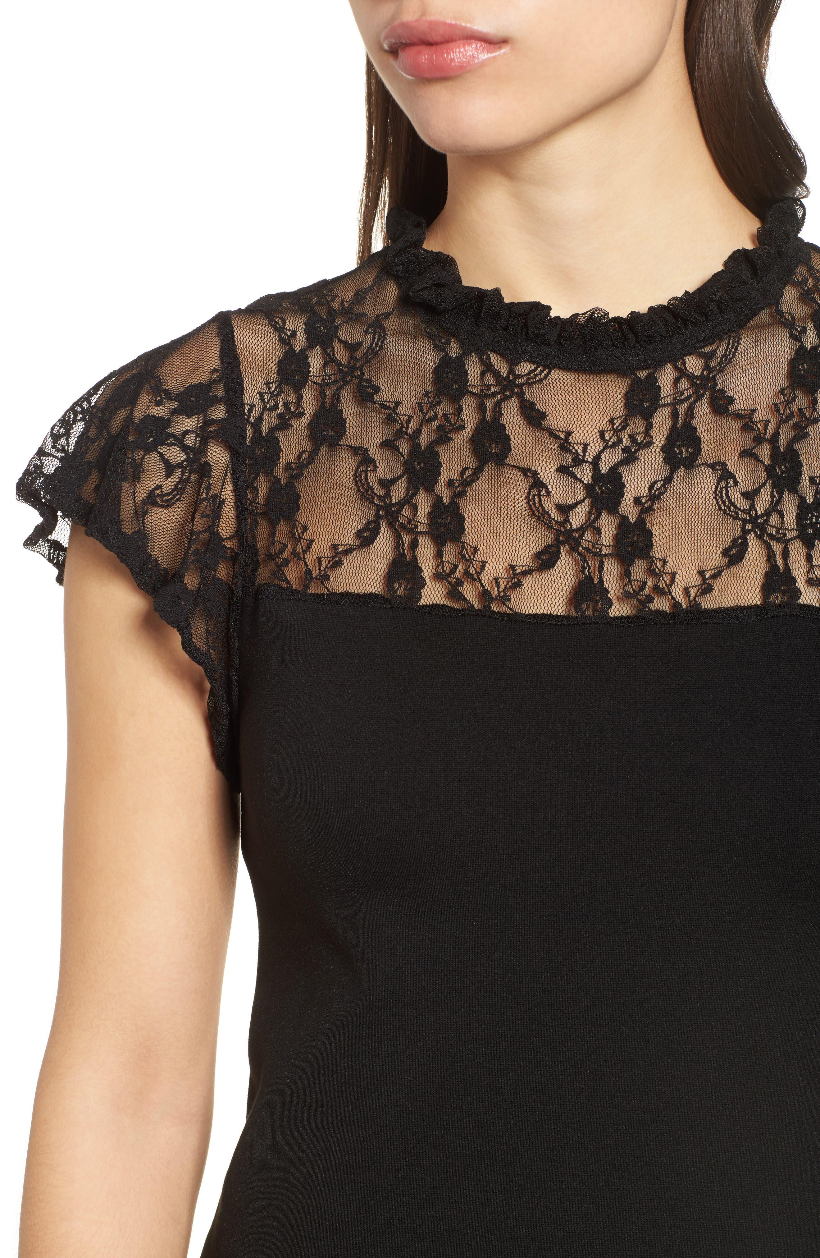 Lace Yoke Ruffled A-Line Dress,                             Alternate thumbnail 4, color,                             001