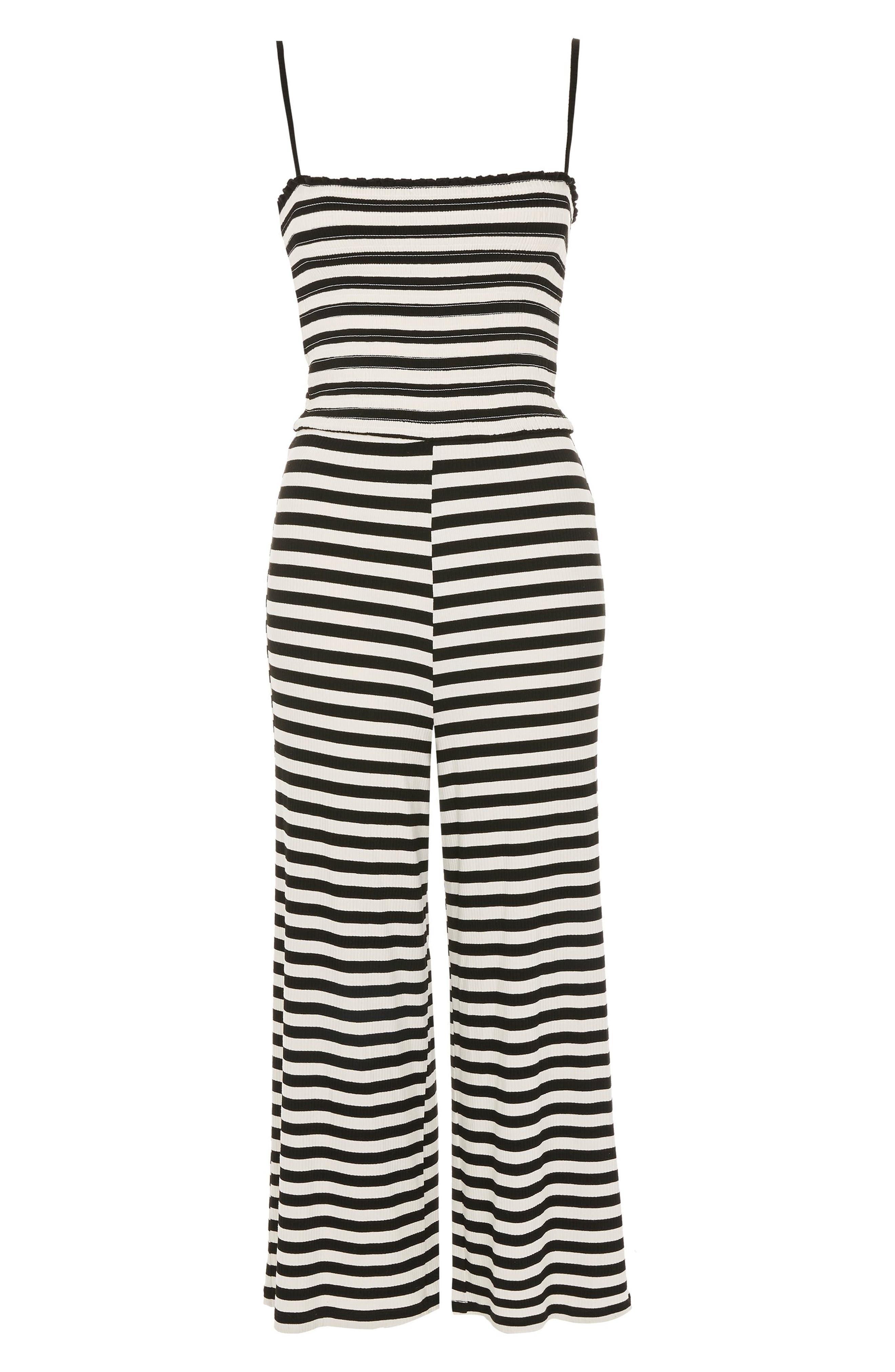 Shirred Top Stripe Jumpsuit,                             Alternate thumbnail 4, color,                             BLACK MULTI