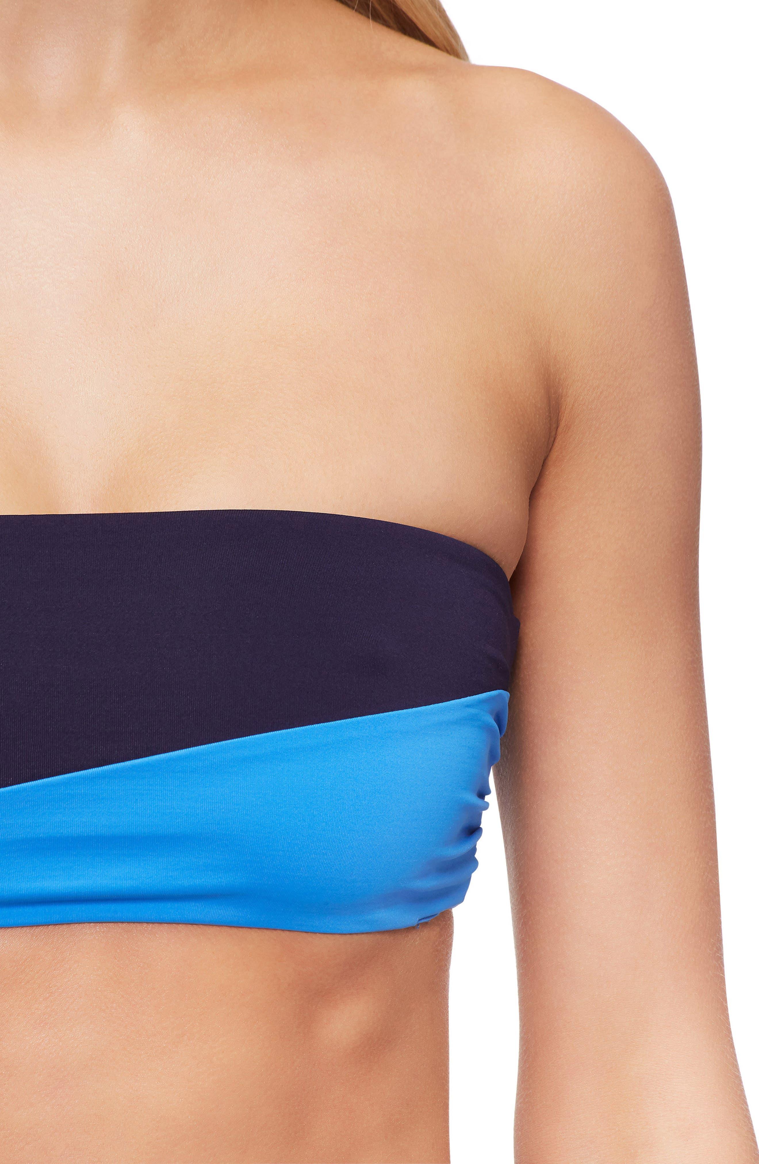 Moon Strapless Bandeau Bikini Top,                             Alternate thumbnail 4, color,                             400