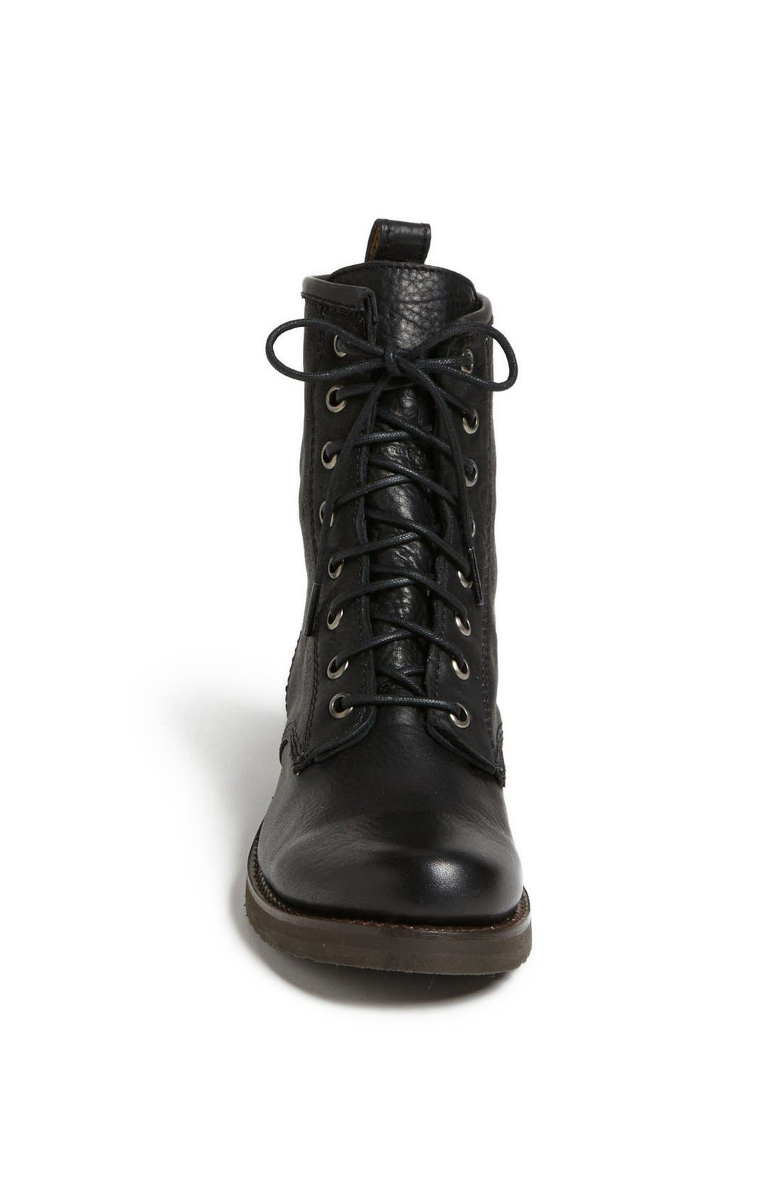 'Veronica Combat' Boot,                             Alternate thumbnail 3, color,                             BLACK
