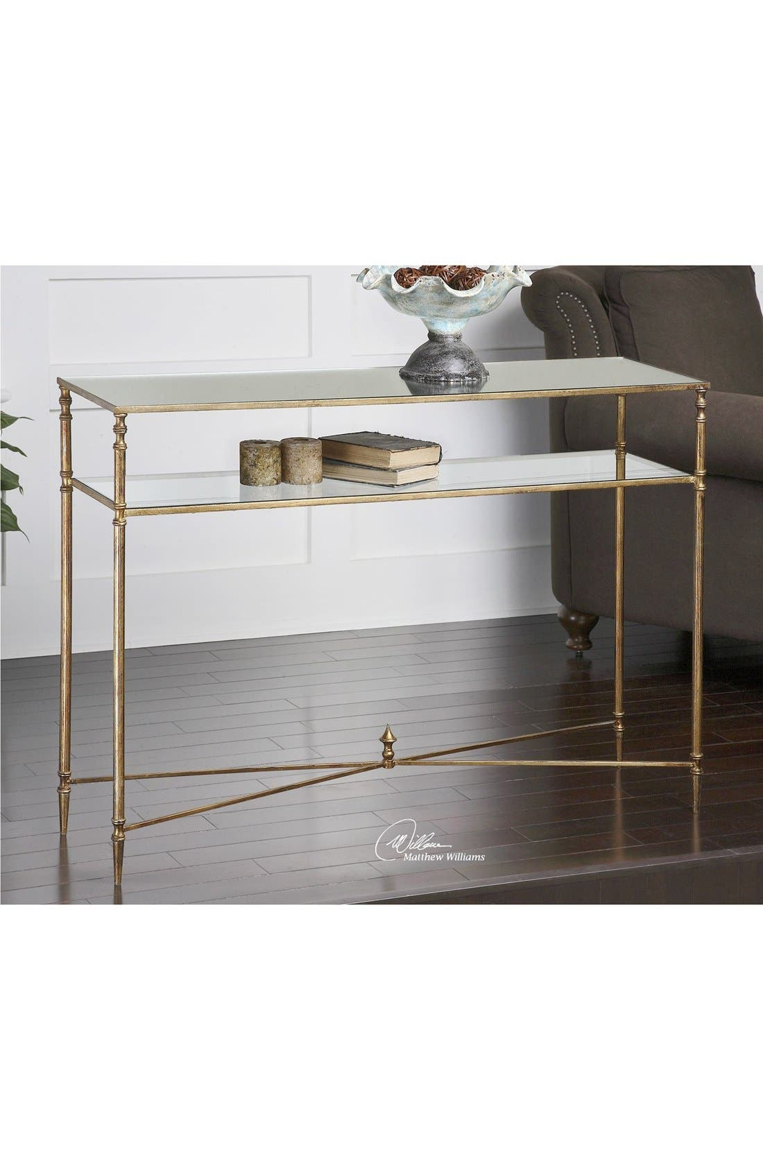 'Henzler' Mirrored Console Table,                             Alternate thumbnail 2, color,                             GOLD