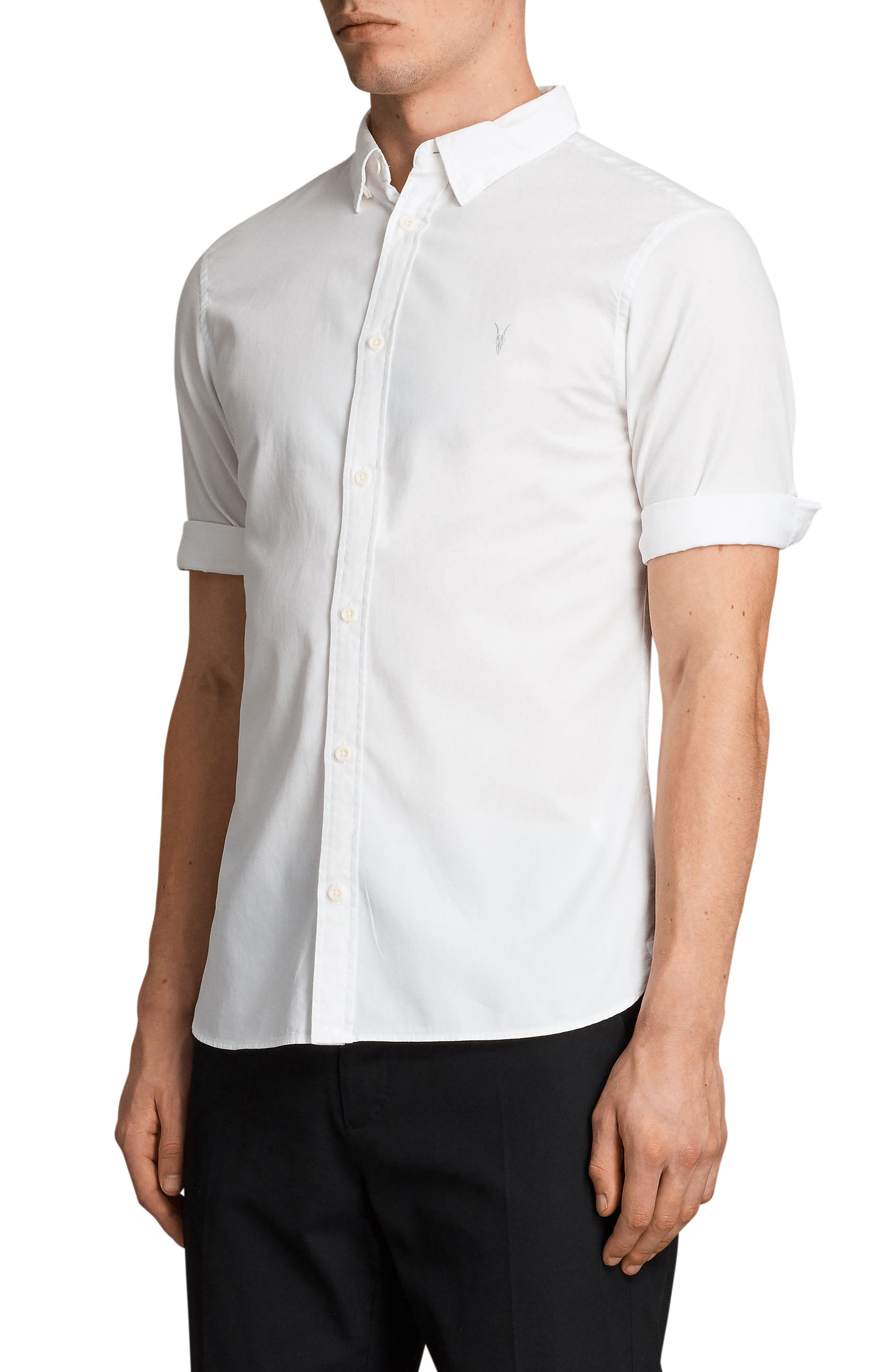 Redondo Slim Fit Sport Shirt,                             Alternate thumbnail 4, color,                             WHITE