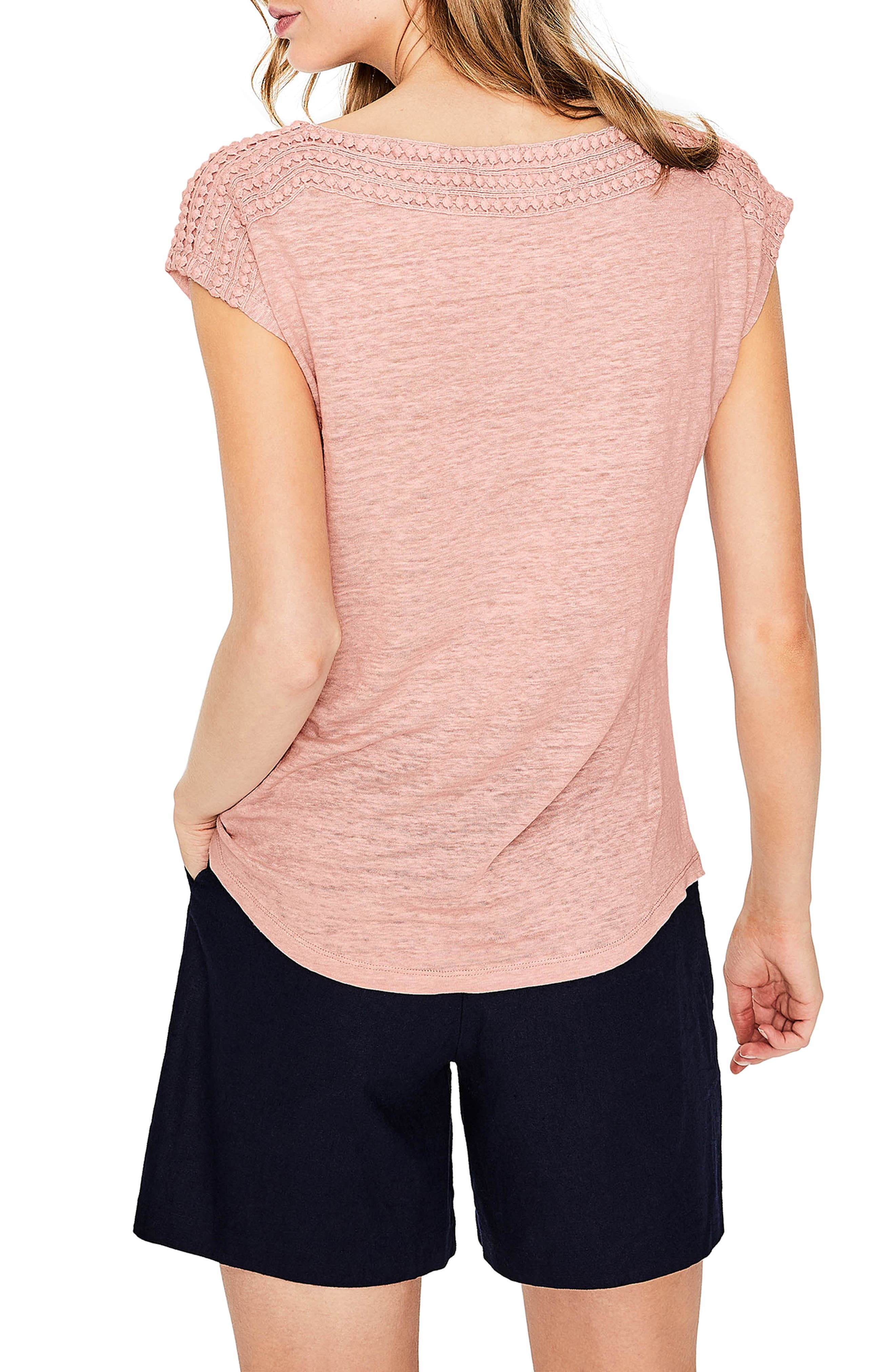 Embroidered Neck Linen Top,                             Alternate thumbnail 2, color,
