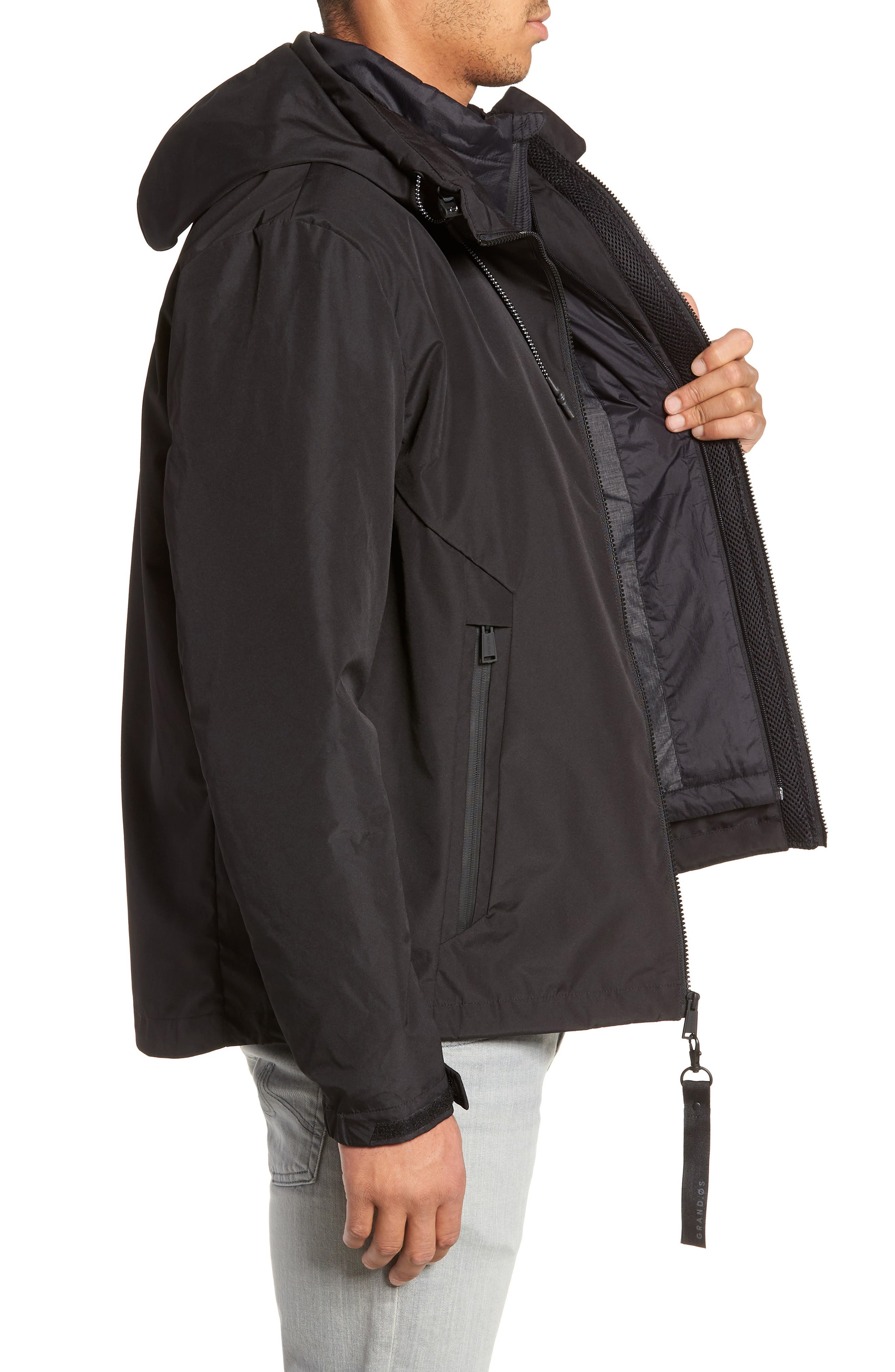3-in-1 Rain Jacket,                             Alternate thumbnail 4, color,                             BLACK