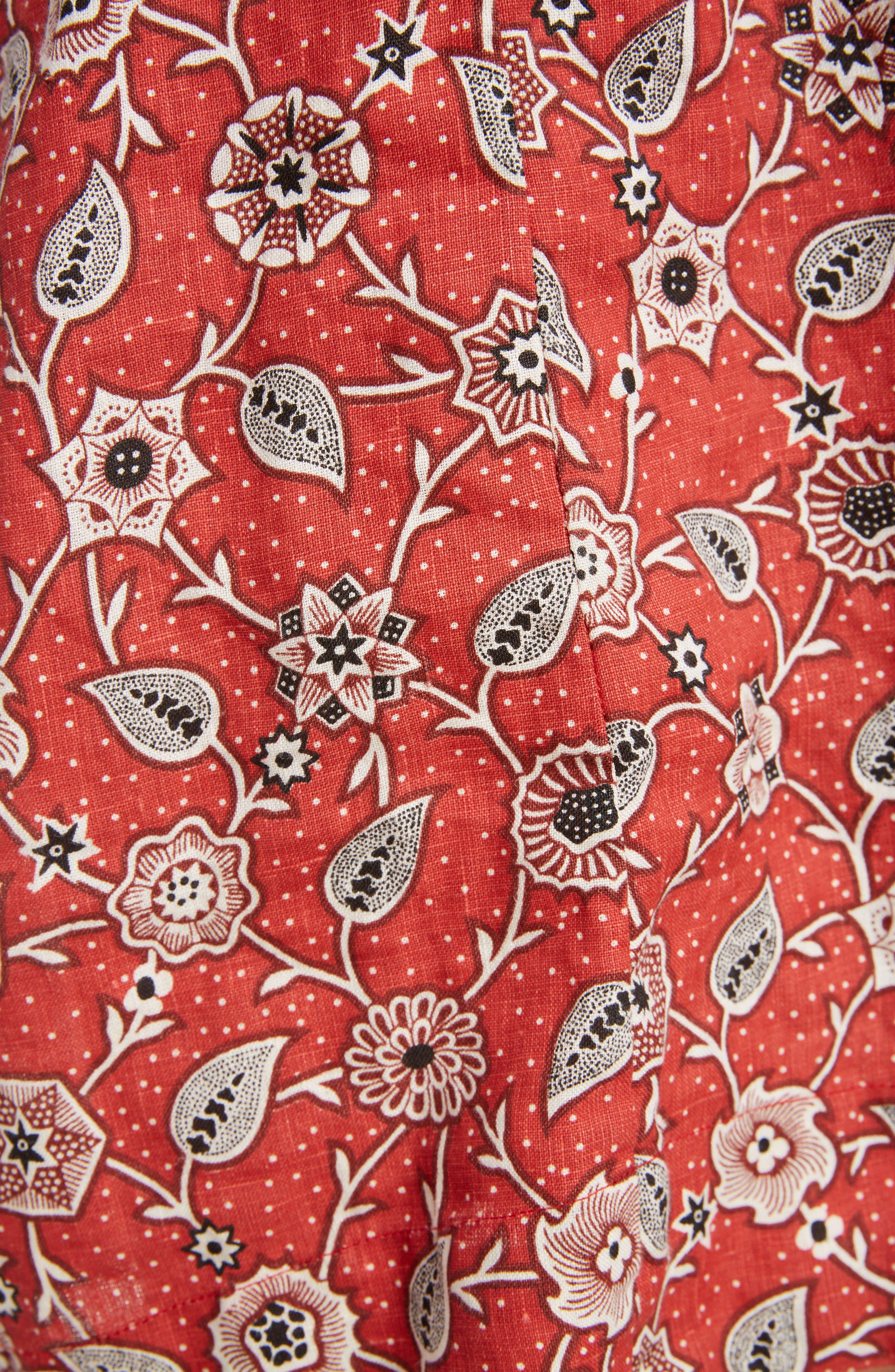 Tockya Print Linen Swing Dress,                             Alternate thumbnail 6, color,                             RUST