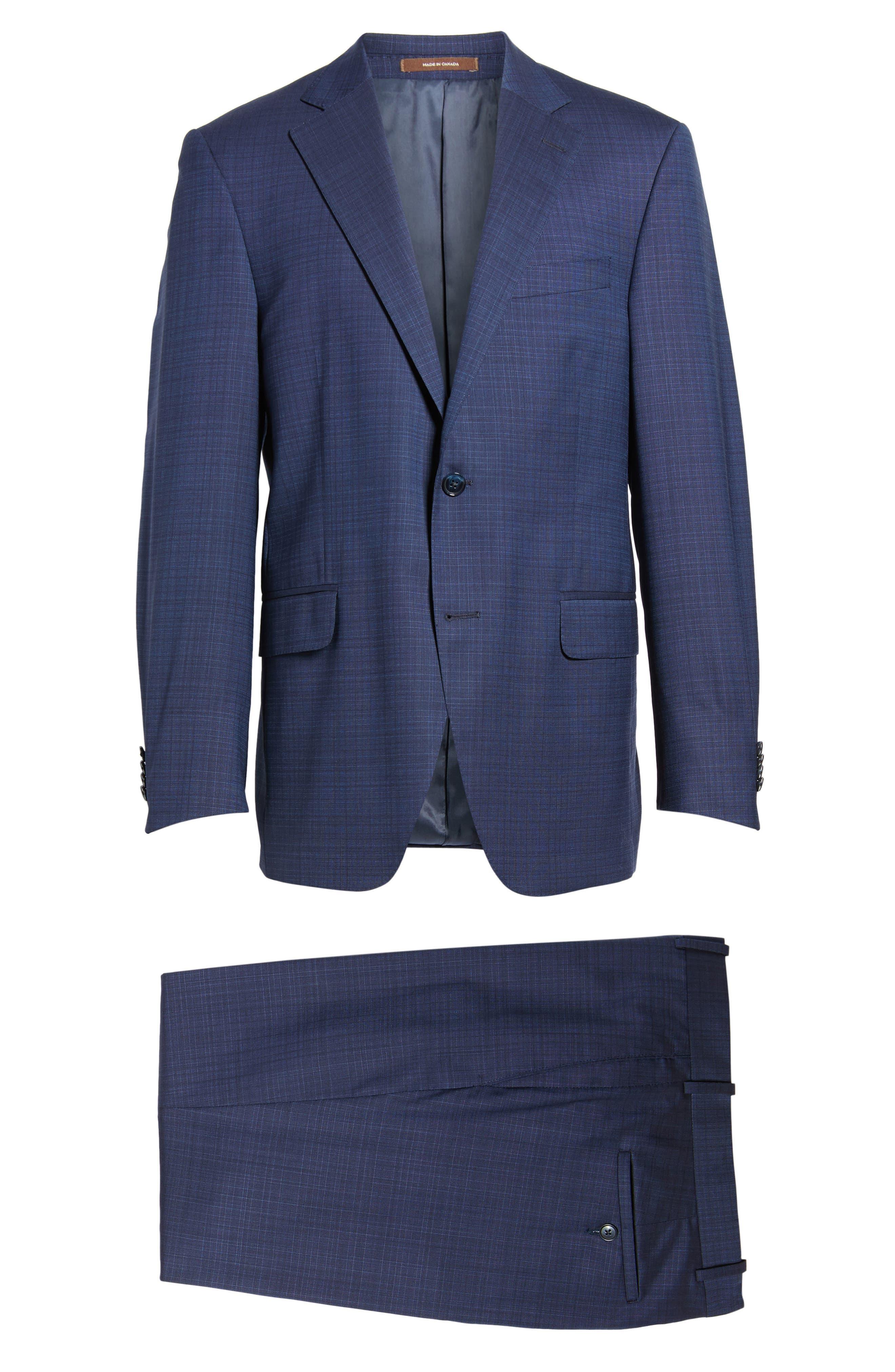Classic Fit Check Wool Suit,                             Alternate thumbnail 8, color,                             400