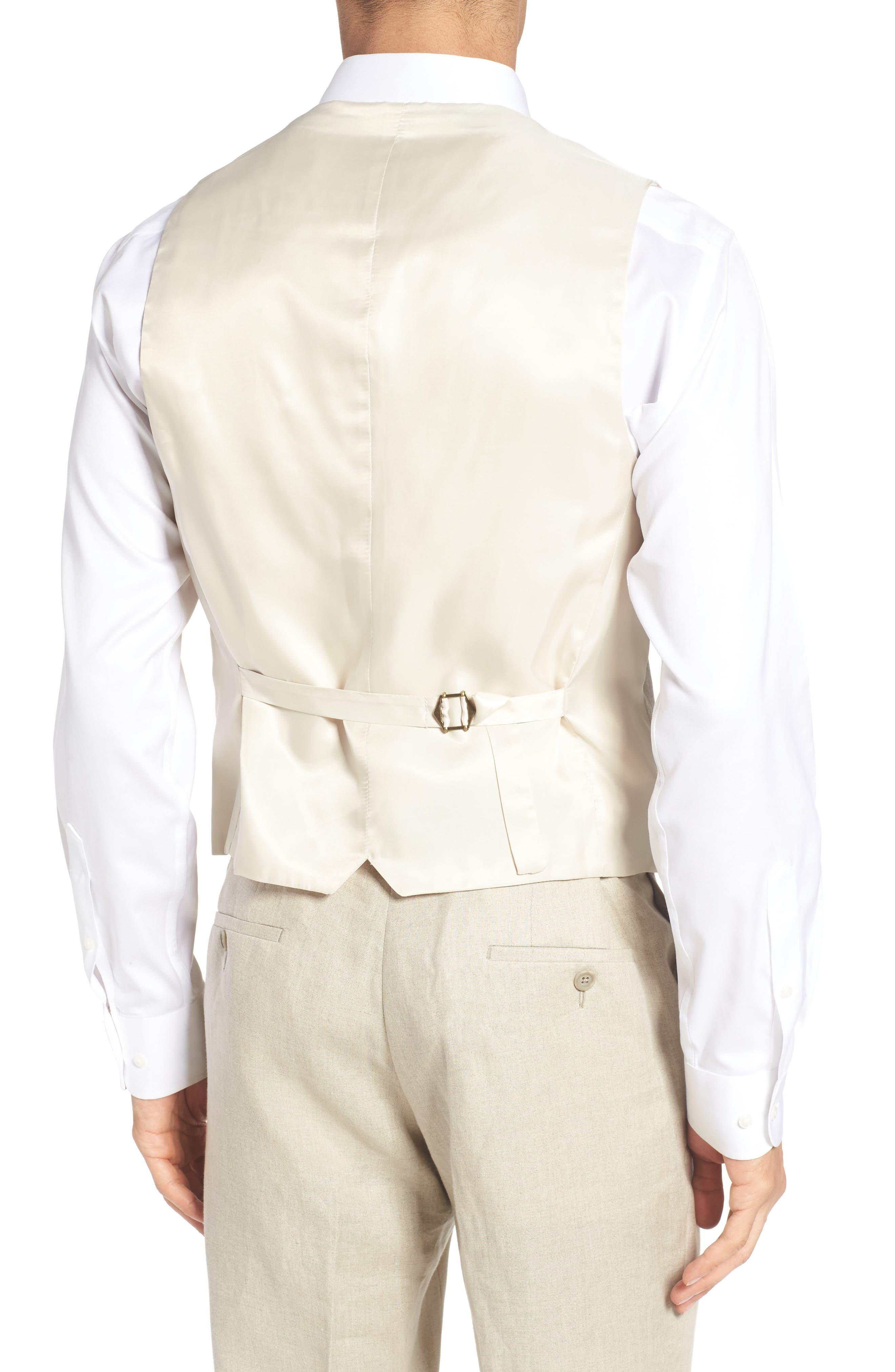 Trim Fit Solid Linen Vest,                             Alternate thumbnail 2, color,
