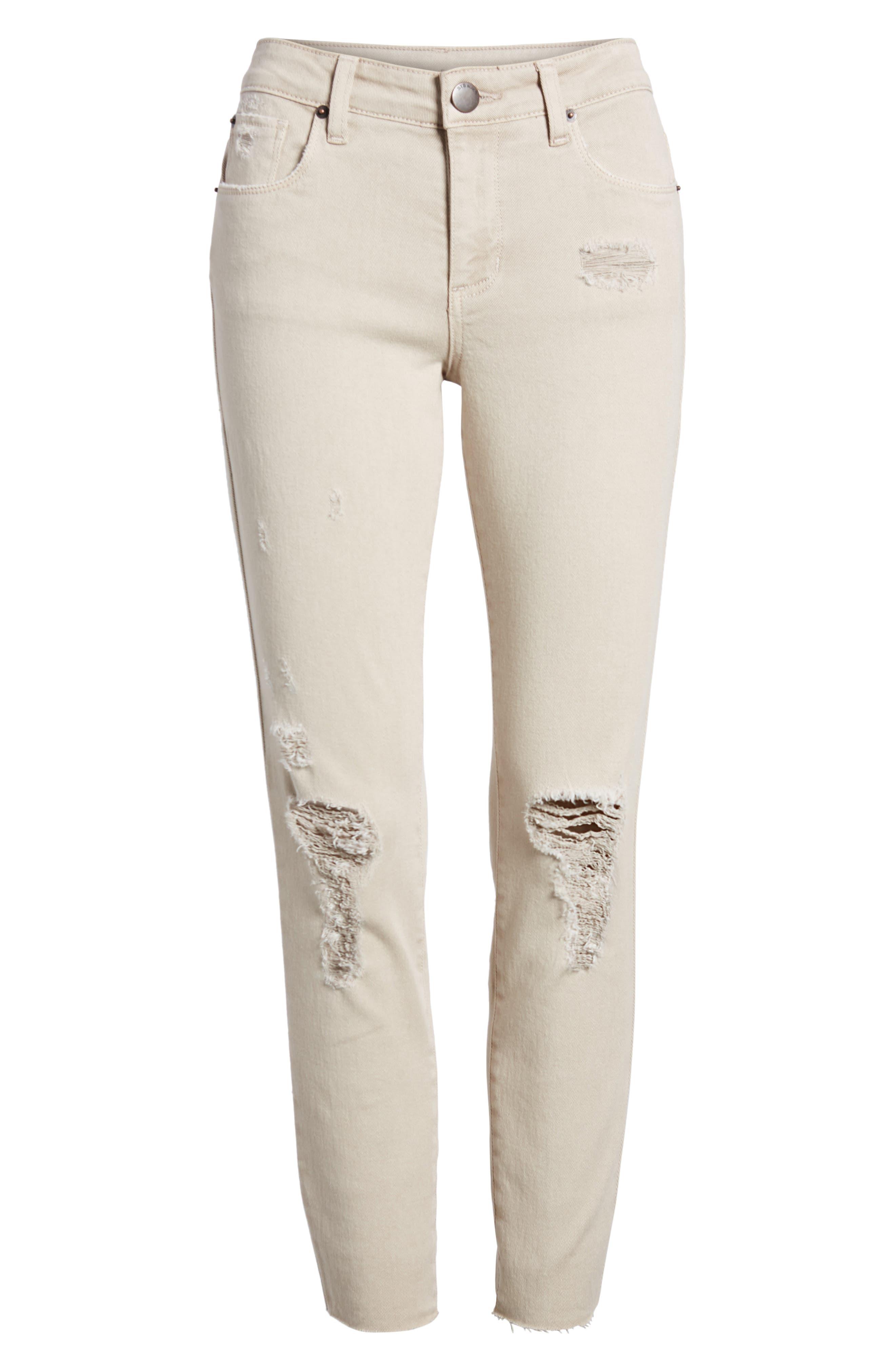 Emma Distressed Raw Hem Skinny Jeans,                             Alternate thumbnail 7, color,