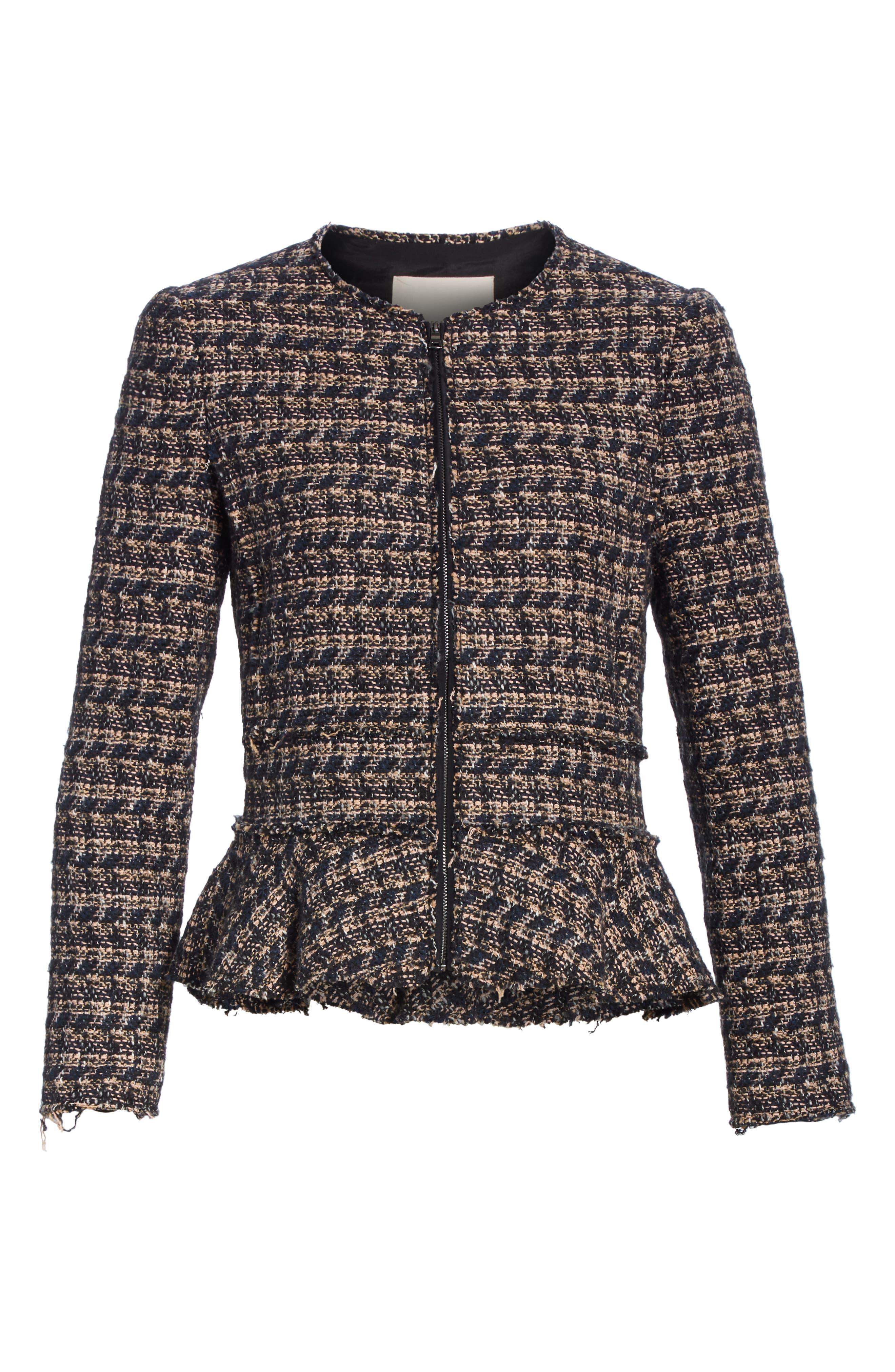 Zip Front Tweed Peplum Jacket,                             Alternate thumbnail 5, color,                             MULTI