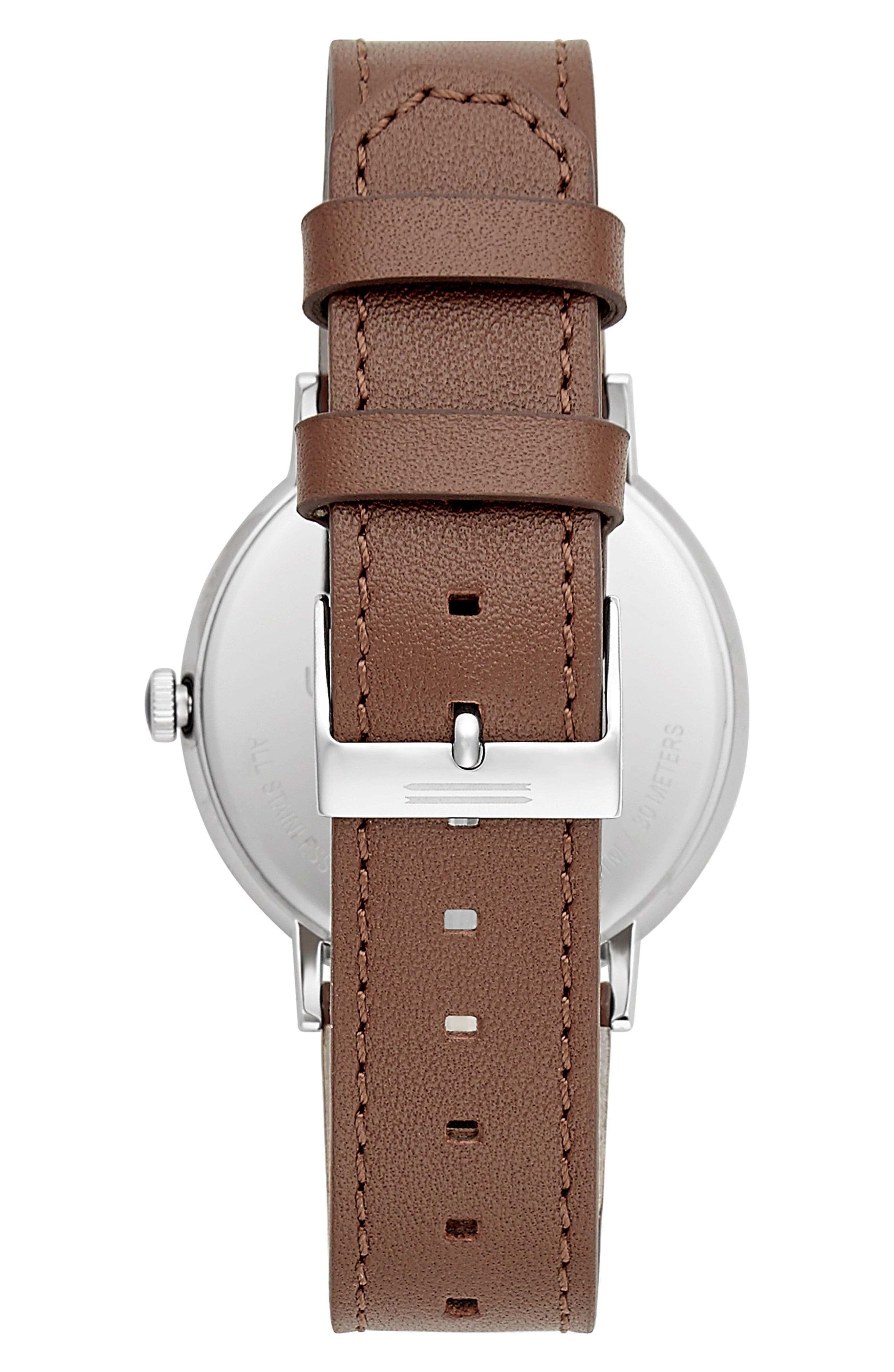 Norrebro Leather Watch, 40mm,                             Alternate thumbnail 2, color,                             BROWN/ NAVY/ SILVER