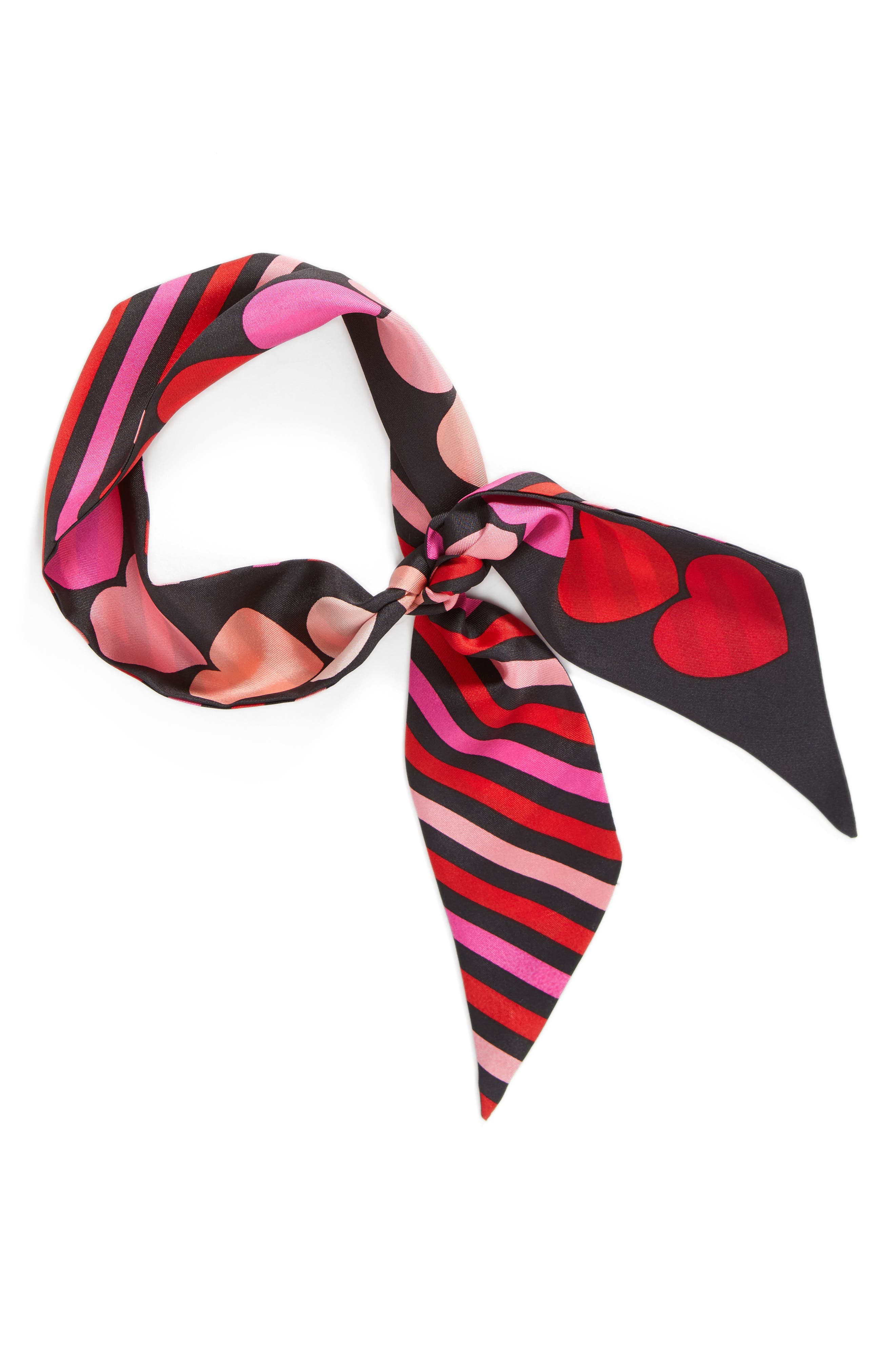 heart stripe silk skinny scarf,                             Alternate thumbnail 2, color,