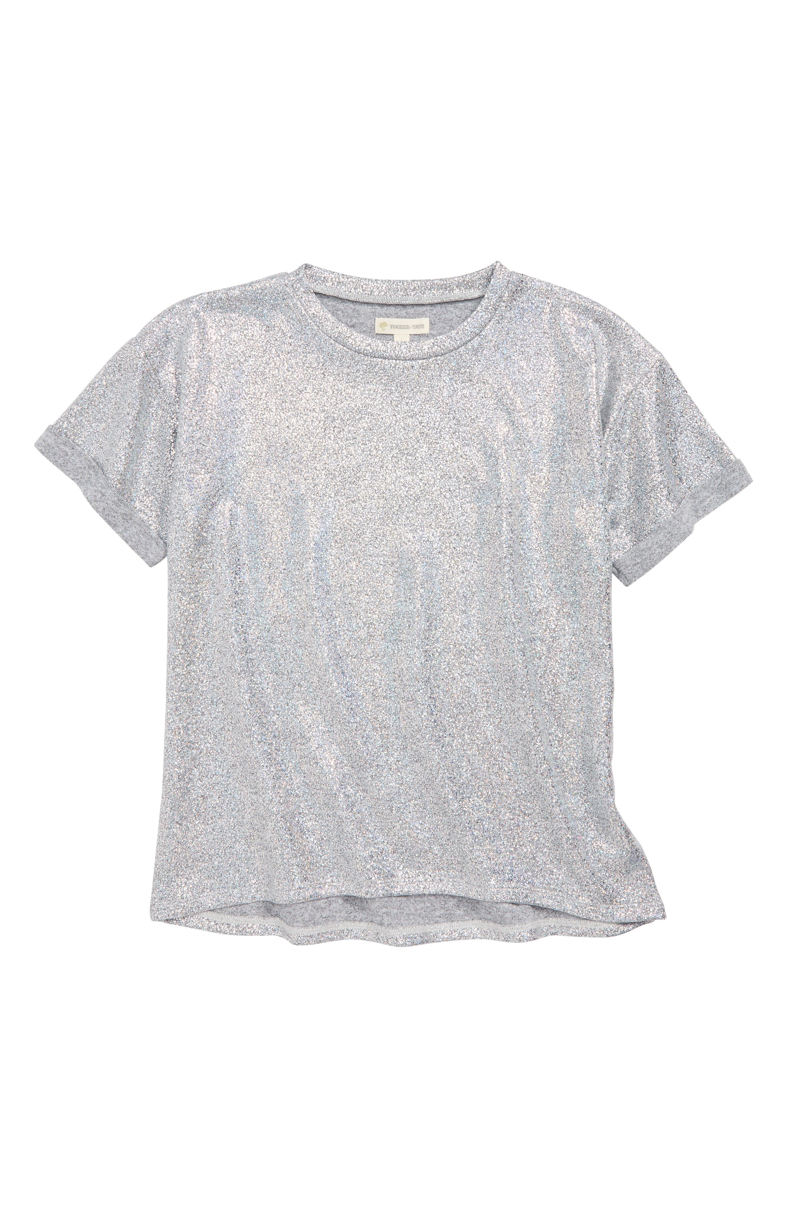 Oversize Sparkle Tee,                             Main thumbnail 1, color,                             METALLIC SILVER