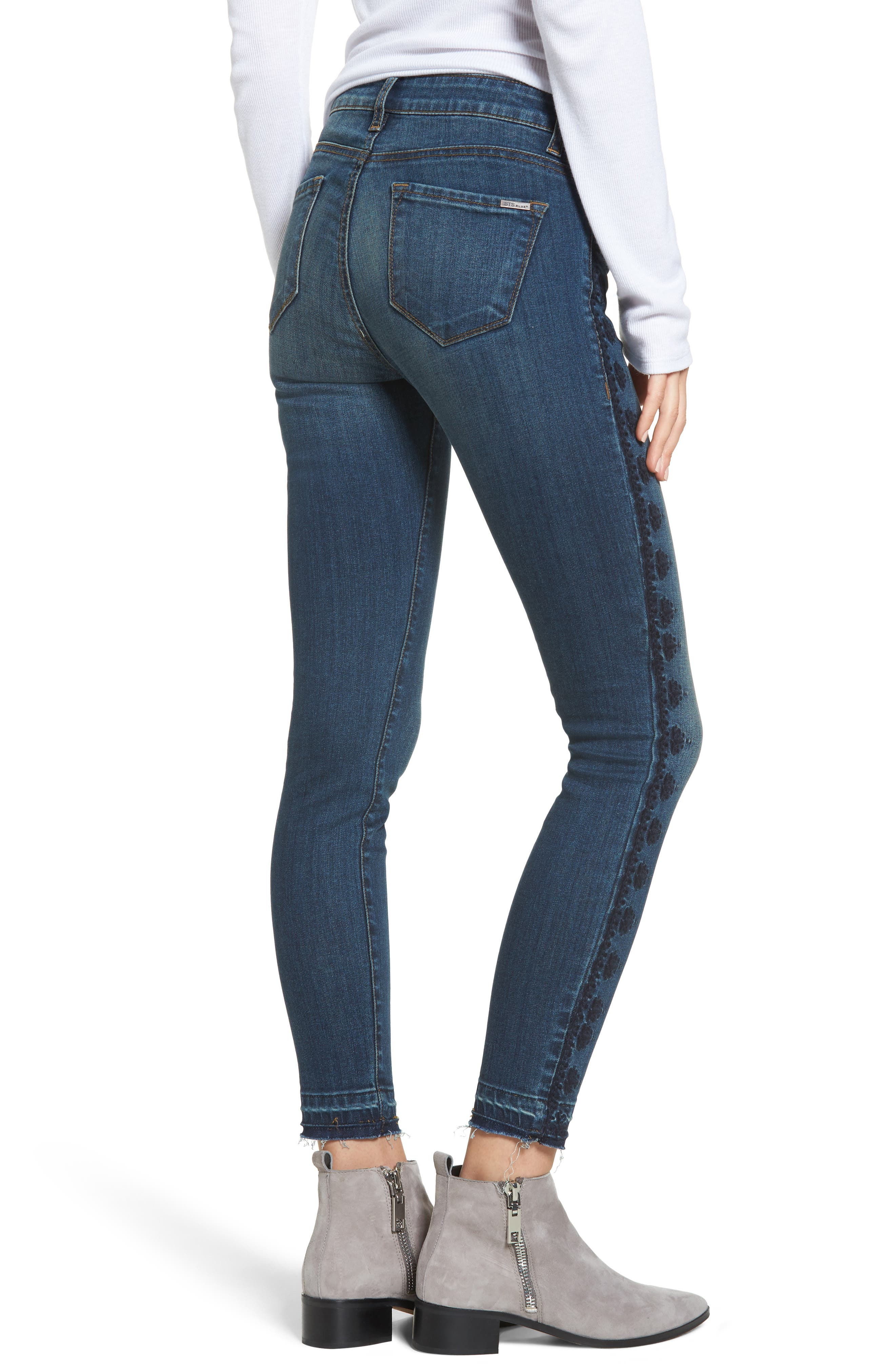 Emma Embroidered Skinny Ankle Jeans,                             Alternate thumbnail 2, color,