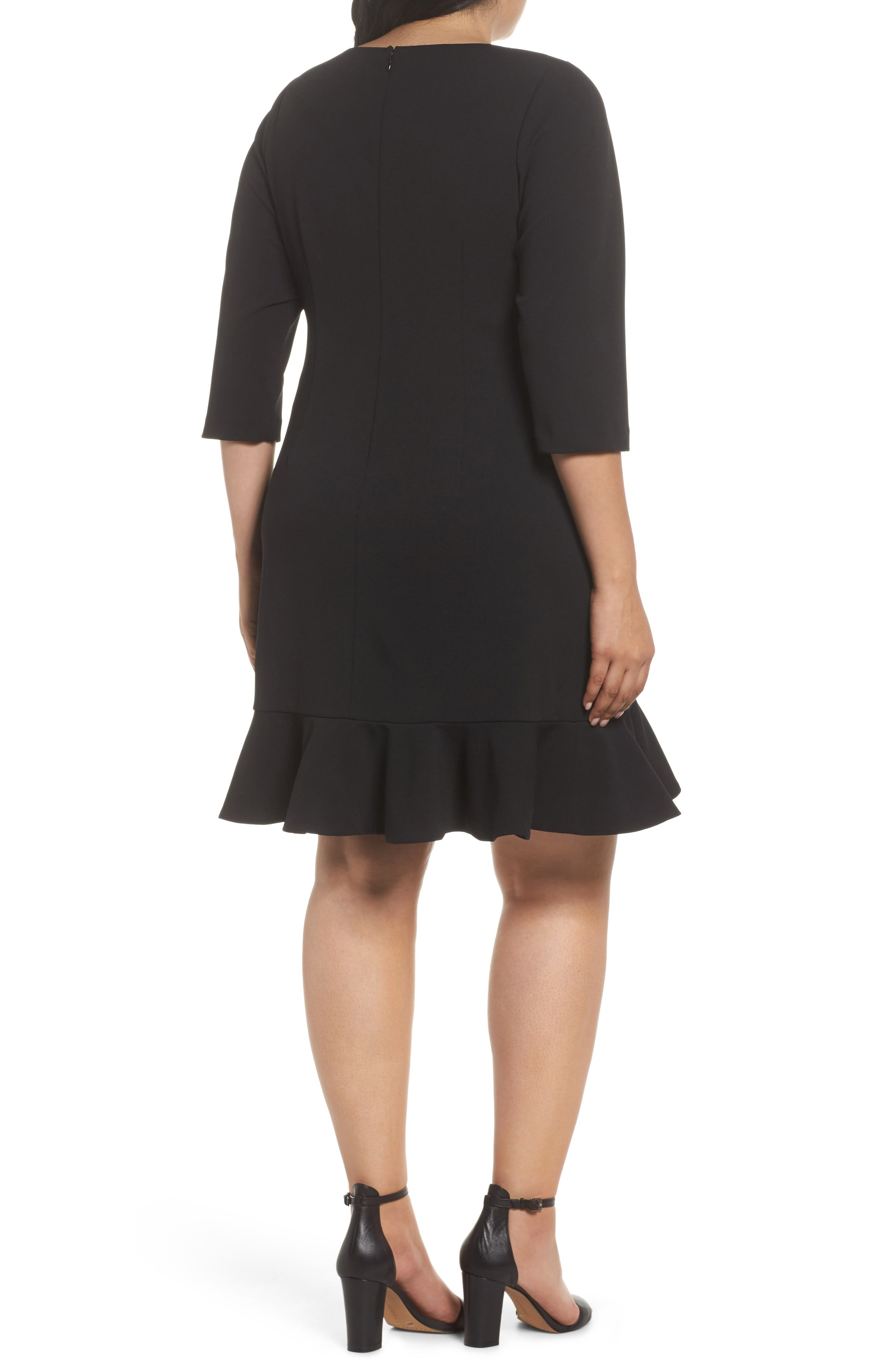 Scuba Crepe Sheath Dress,                             Alternate thumbnail 2, color,                             001