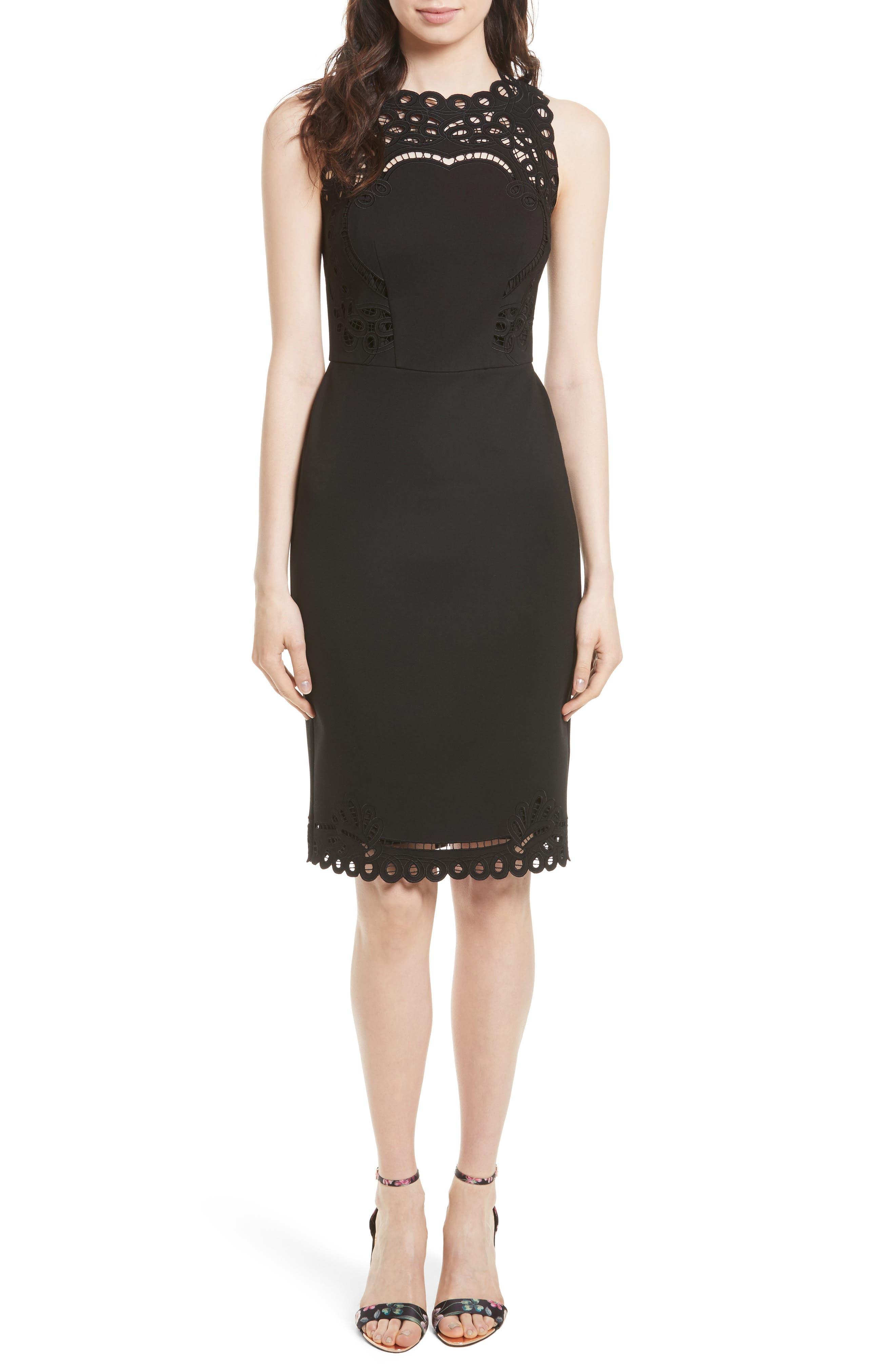 Verita Cutout Yoke Sheath Dress,                             Main thumbnail 2, color,