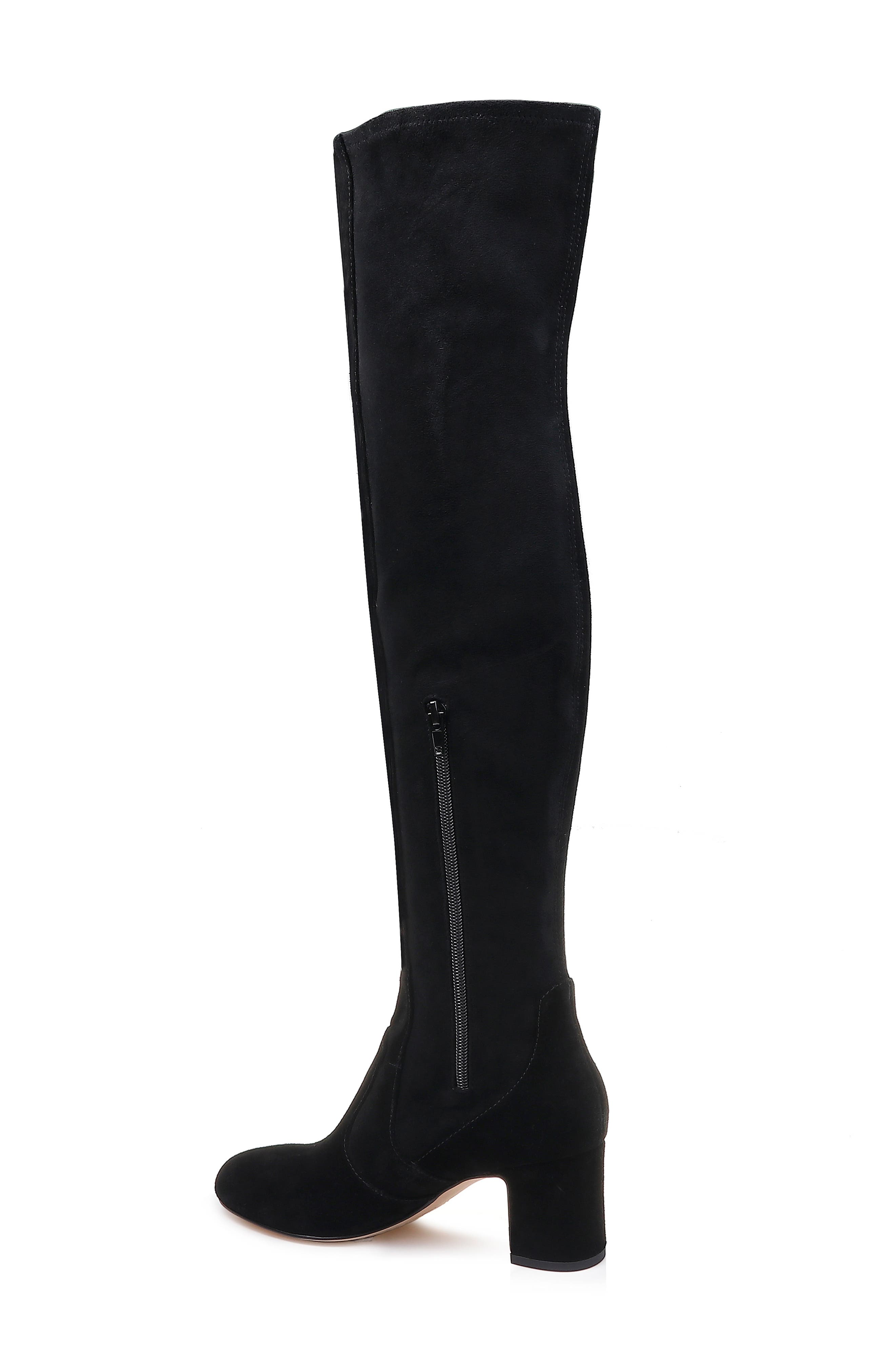 Over the Knee Stretch Back Boot,                             Alternate thumbnail 2, color,                             BLACK SUEDE