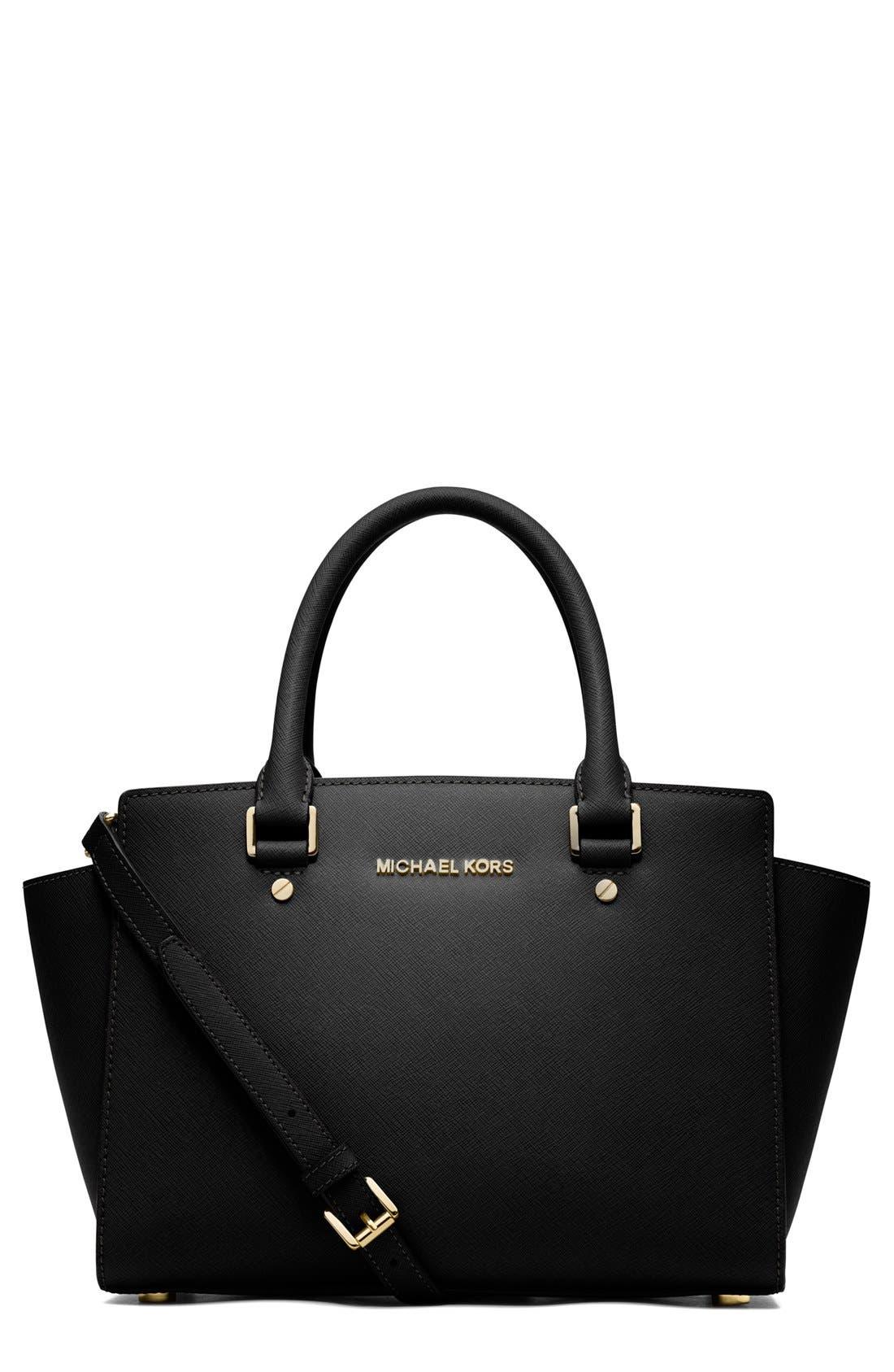 'Medium Selma' Leather Zip Top Satchel,                         Main,                         color, 001