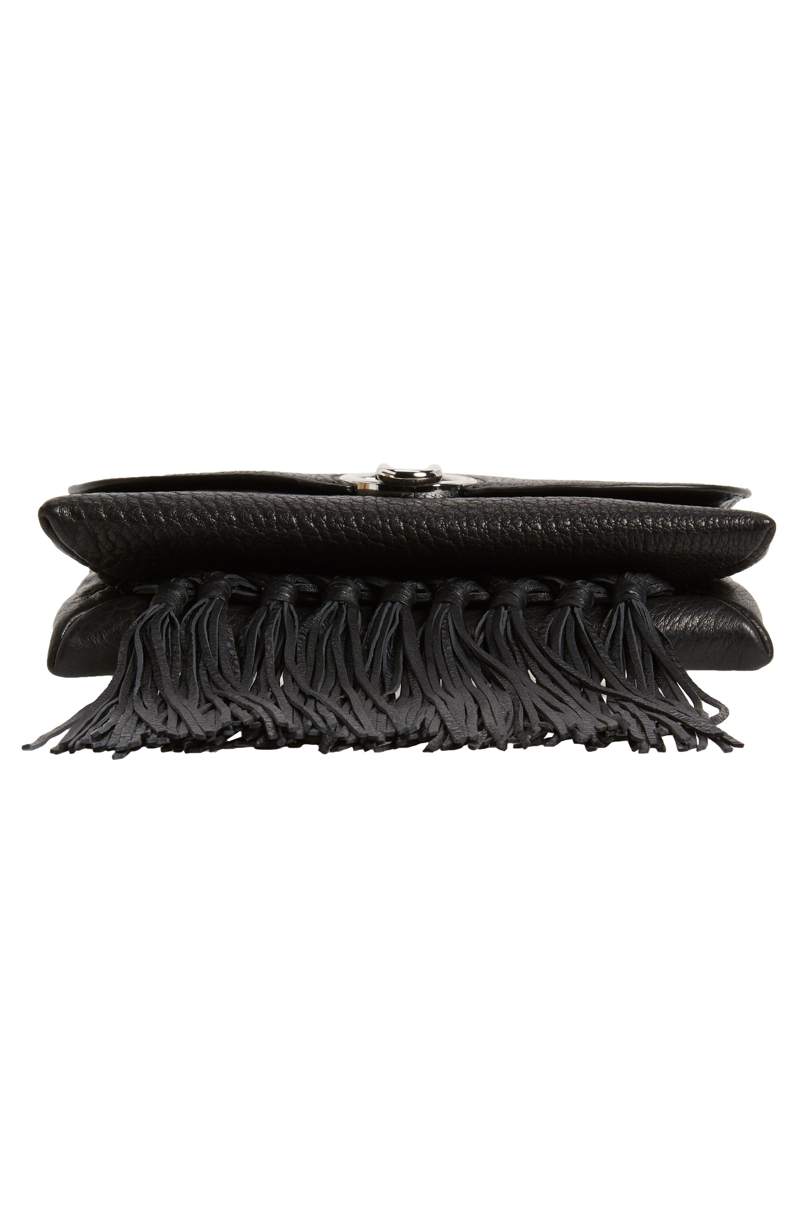 Isabel Fringe Leather Shoulder Bag,                             Alternate thumbnail 7, color,                             001